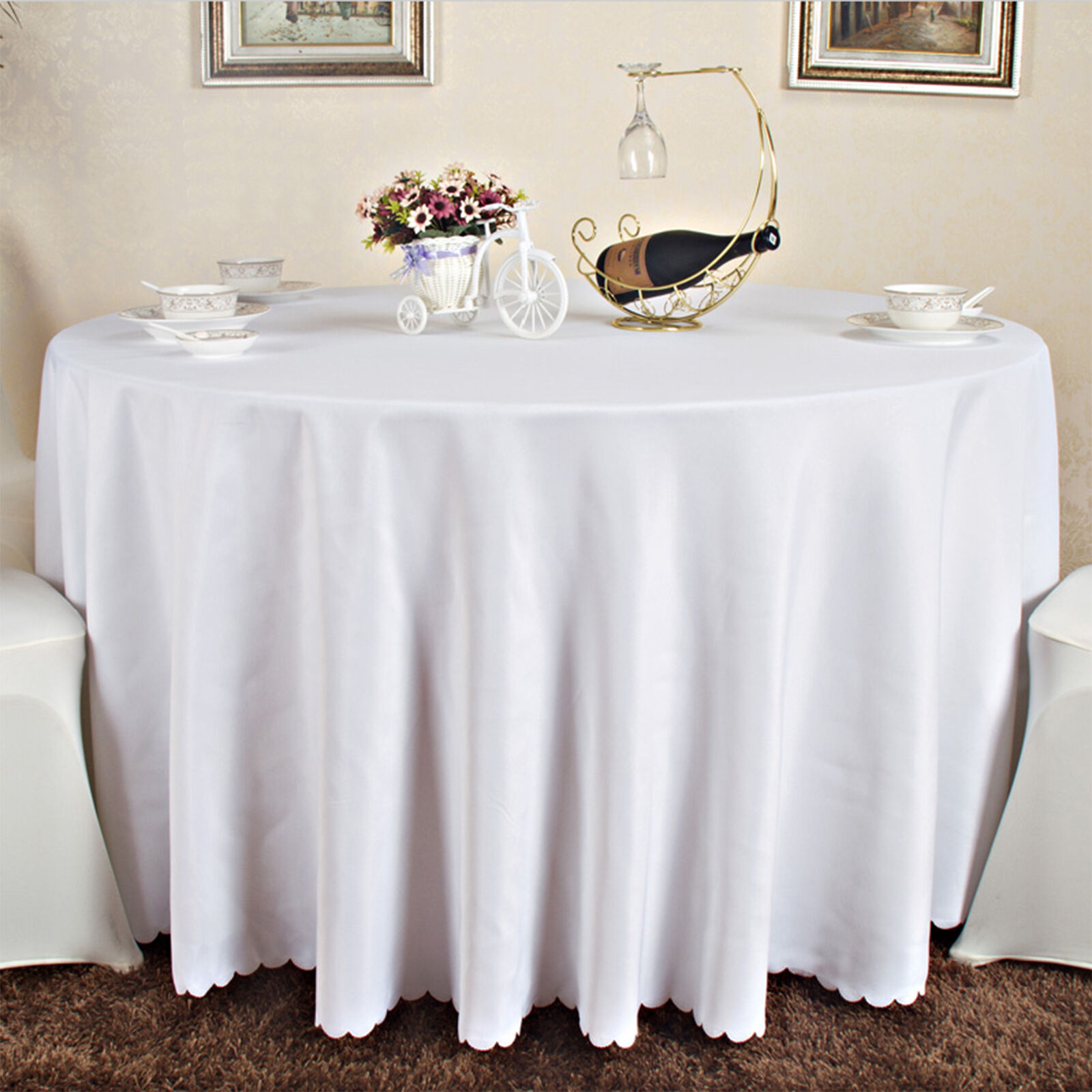 10x90 inch white black round tablecloth table cloth for Round table 99