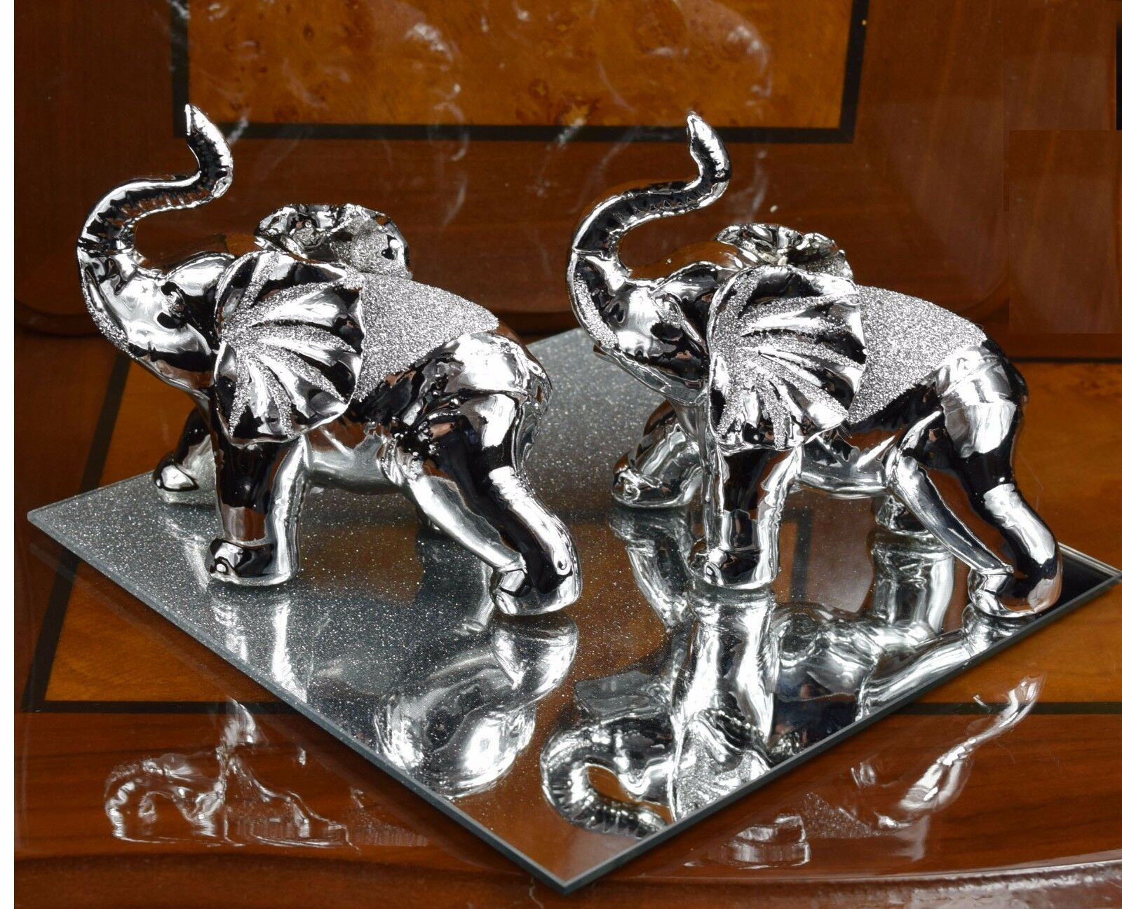 Pair of italian silver chrome elephant home decor ornament wedding birthday gift Silver elephant home decor
