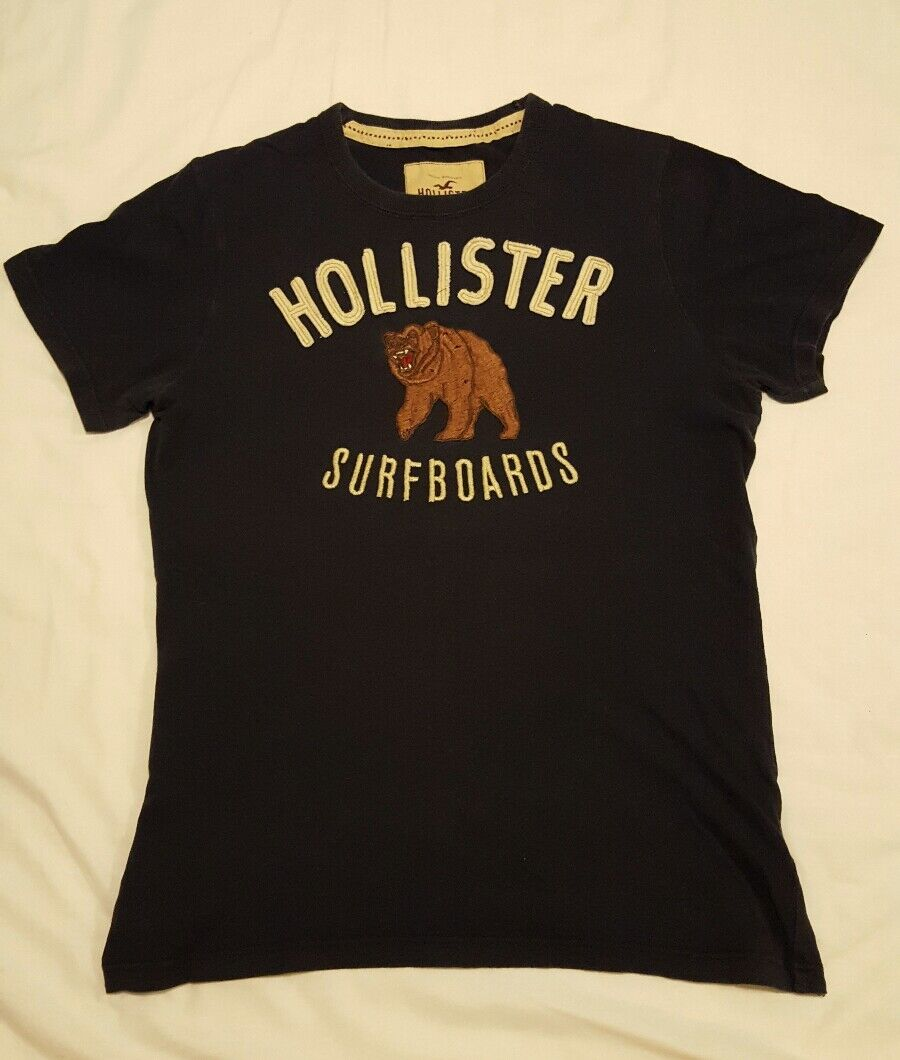 Mens hollister by abercrombie surf t shirt top with bear for Abercrombie logo t shirt