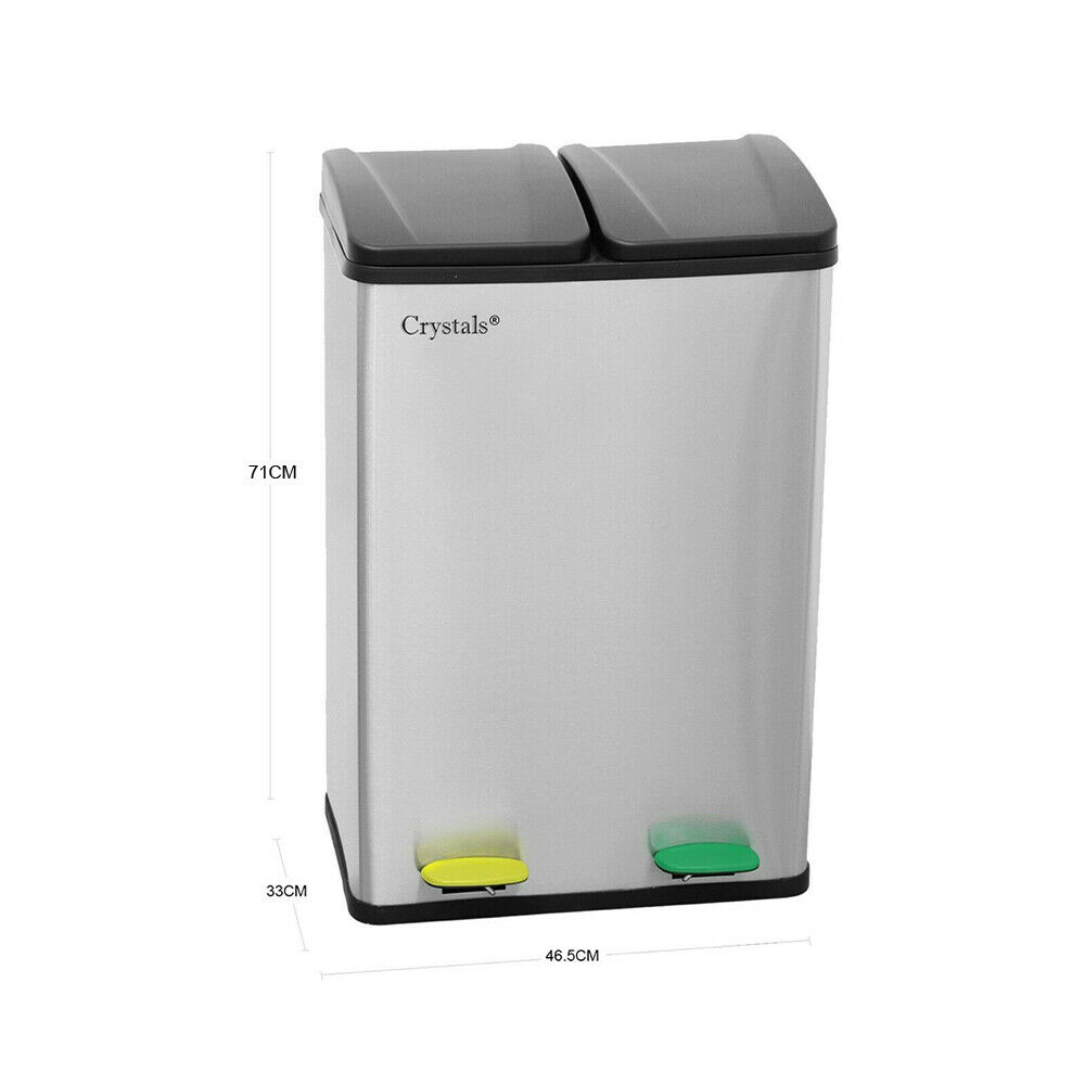 2 IN 1 Kitchen 60L Stainless Steel Compartment Recycling