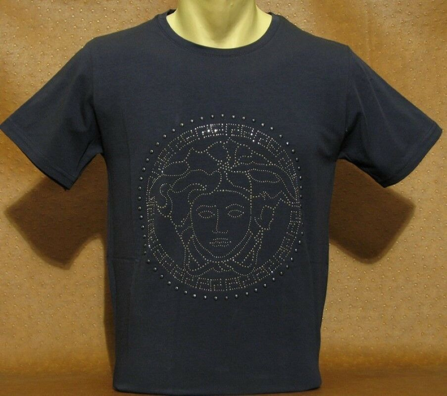 Brand new men 39 s versace t shirt navy blue color size small for Navy blue color shirt