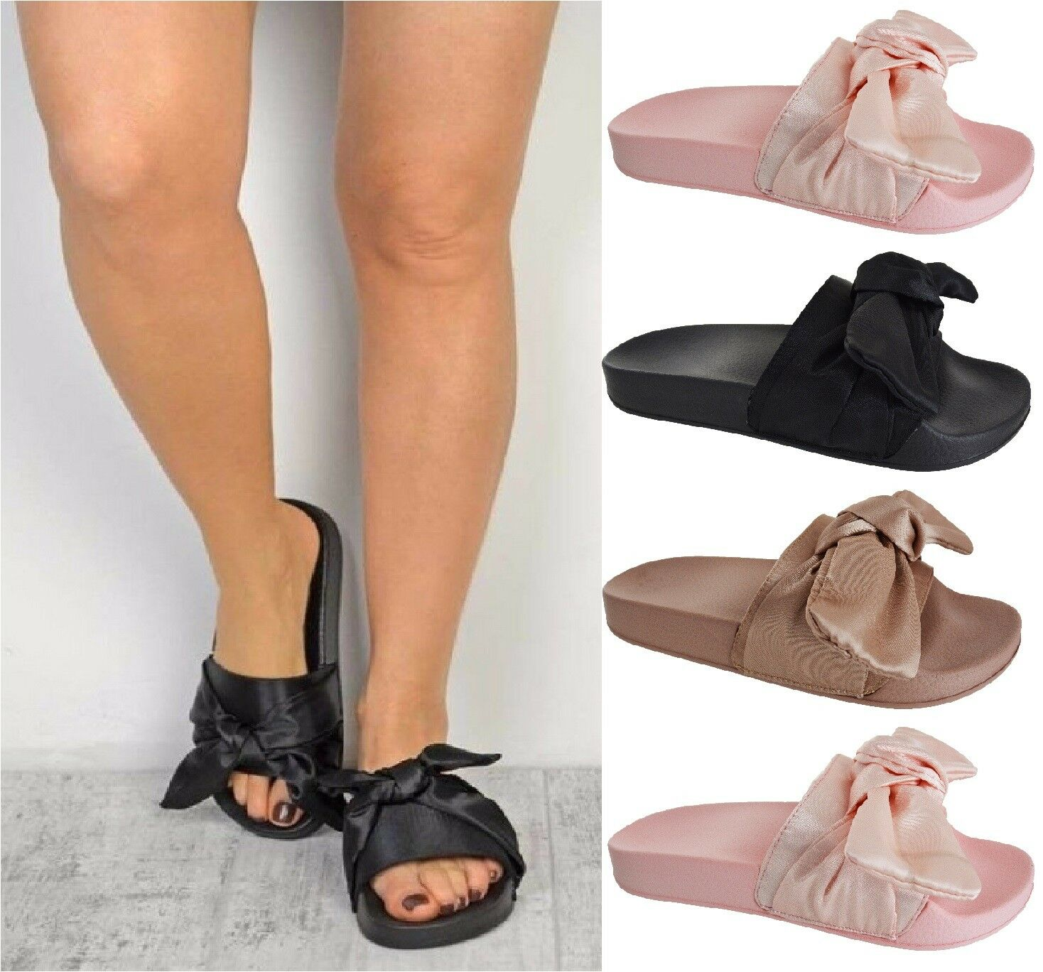 Ladies Womens Flats Slip On Mules Satin Bow Sliders Rubber