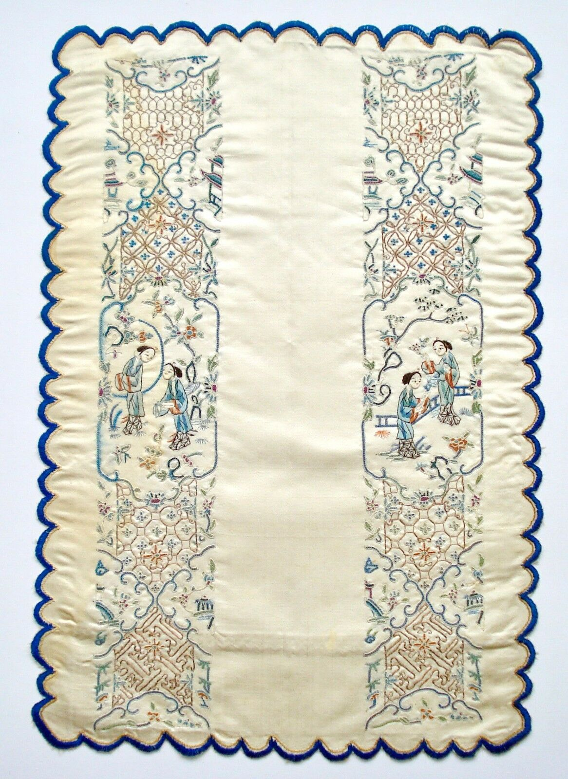 Antique th century chinese silk hand embroidery panel