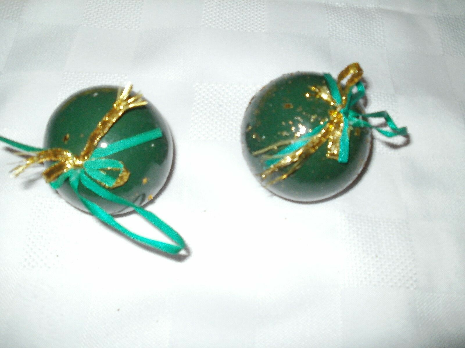 Green Baubles X2 Christmas Tree Decorations 081 0
