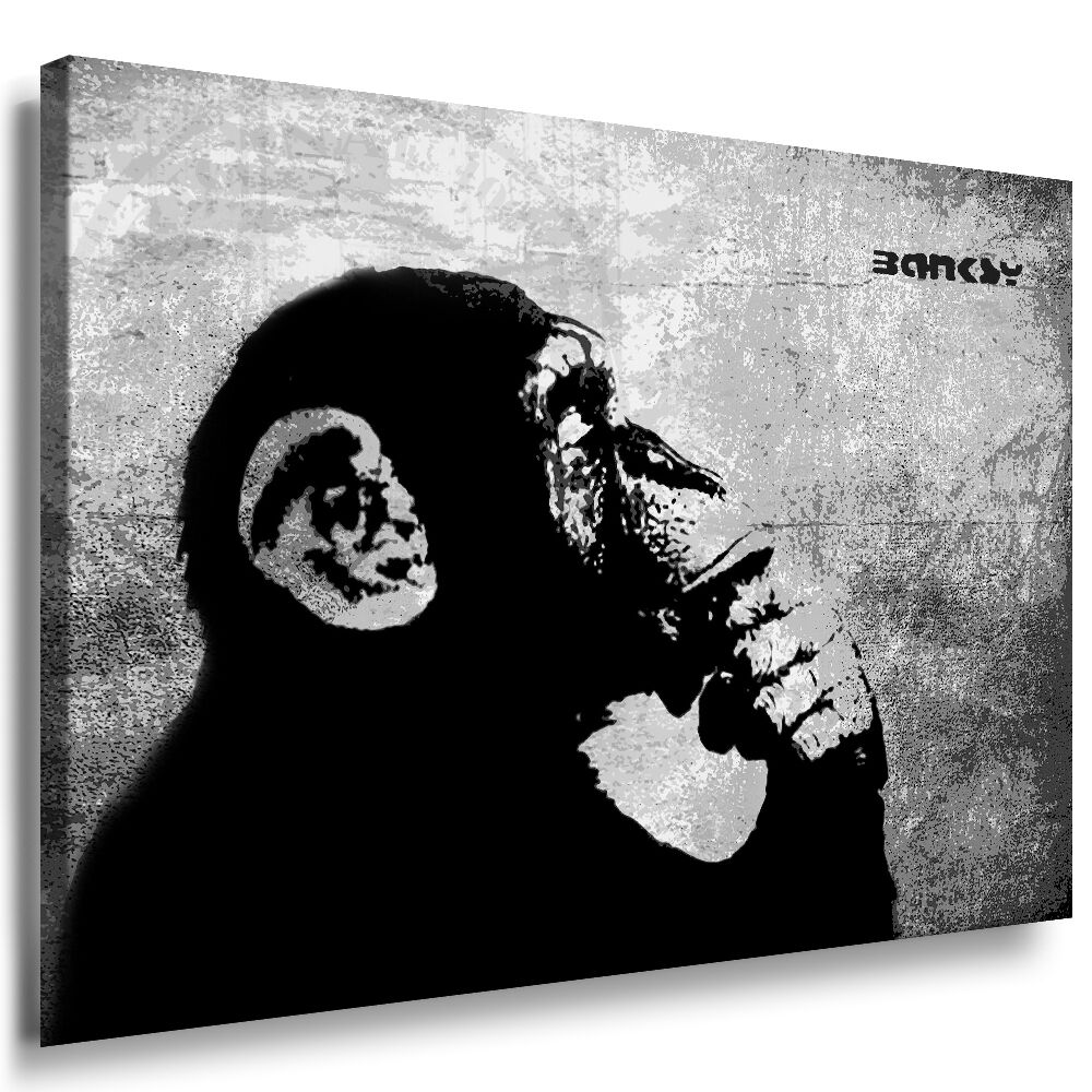 graffiti bilder banksy leinwand auf xxl keilrahmen wandbild kunstdruck affe 1 picclick de. Black Bedroom Furniture Sets. Home Design Ideas