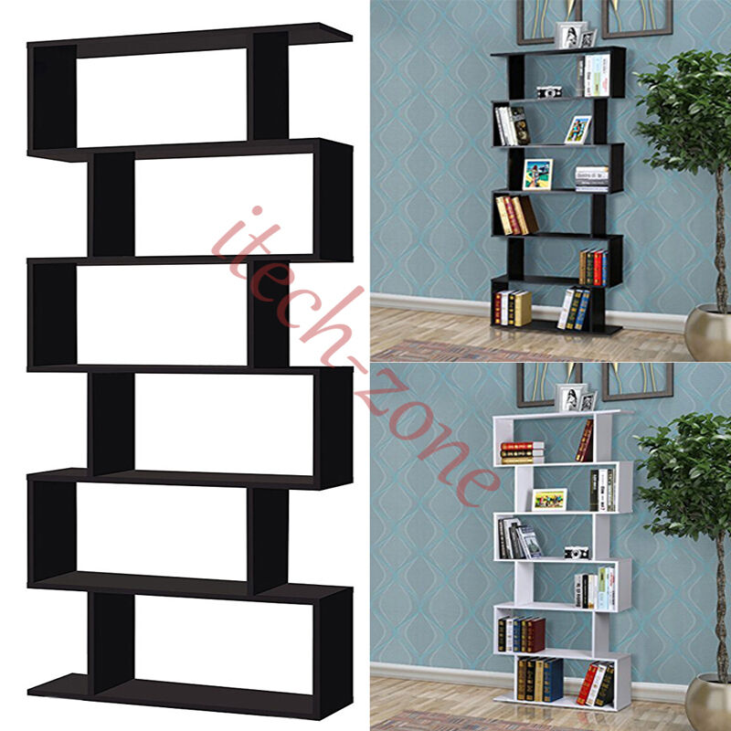 6 Tier Wooden S Shape Bookcase Stand Rack Office Home Display Unit Shelf Storage