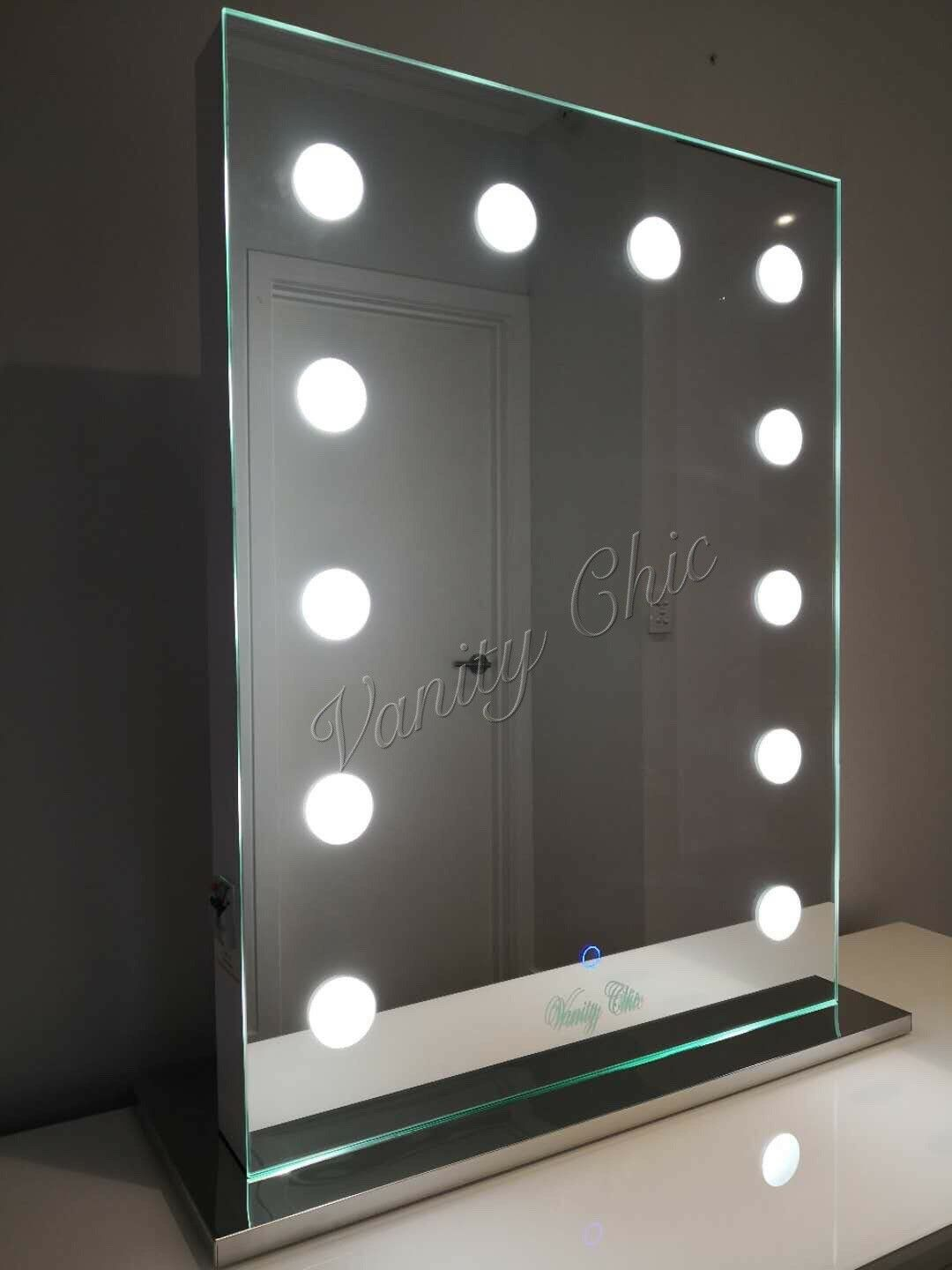 mirrored edges hollywood makeup mirror with lights vanity make up beauty mirror aud. Black Bedroom Furniture Sets. Home Design Ideas