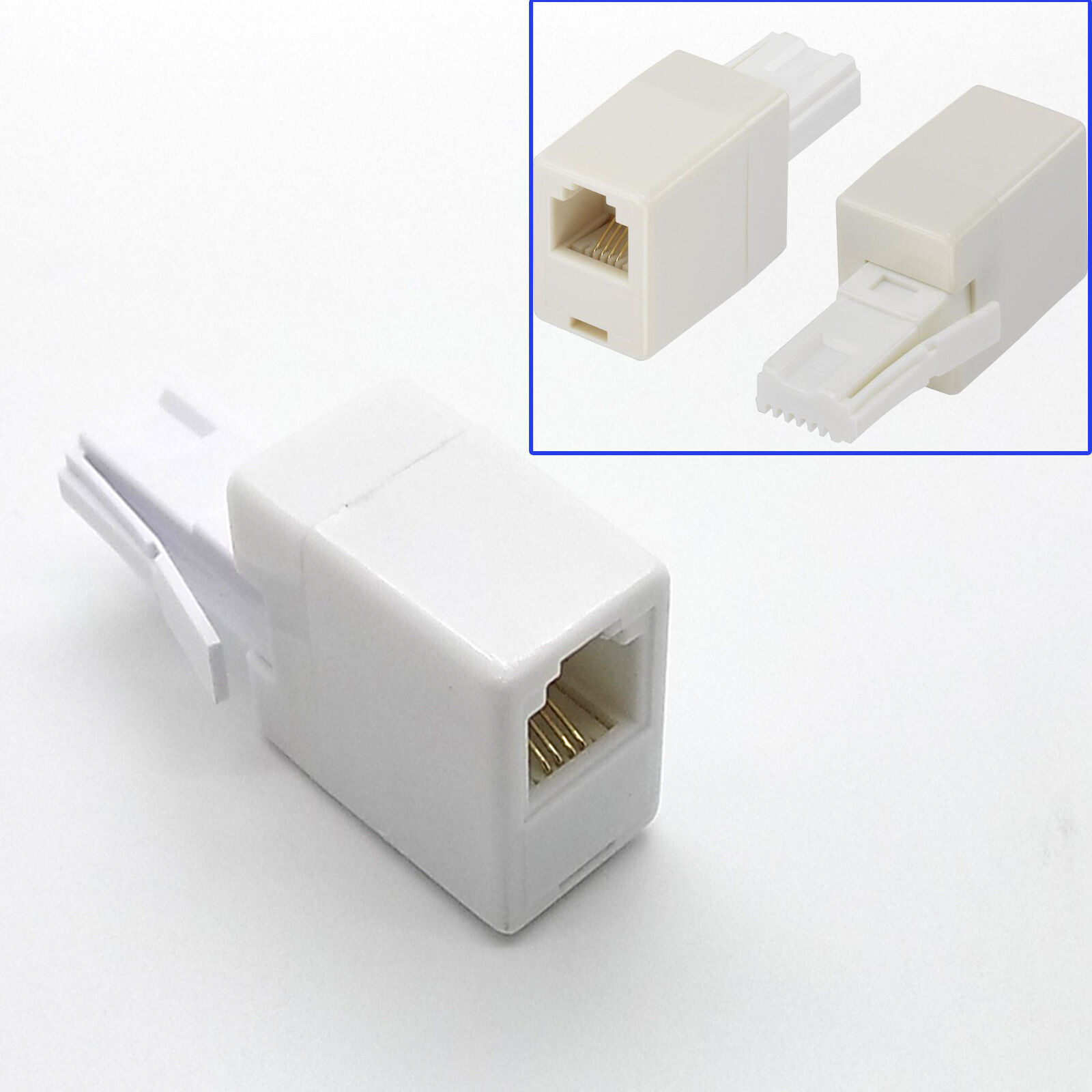Uk Bt Telephone Plug To Rj11 Socket Adapter Adaptor Connector 6p4c Wiring 1 Of 3only 0 Available