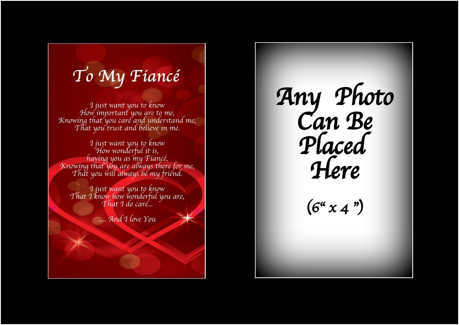 TO MY FIANCE Poem Personalised with ANY PHOTO Birthday Fathers ...