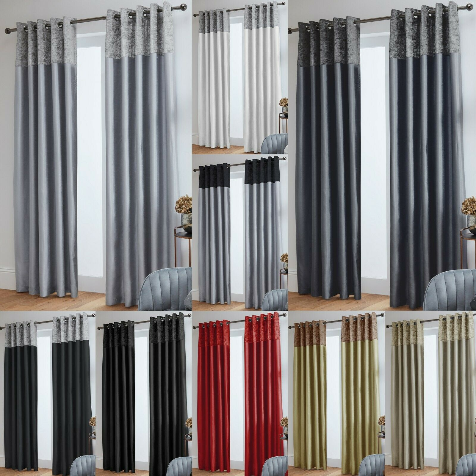 Crushed Velvet Band Faux Silk Eyelet Curtains Fully Lined Picclick Uk