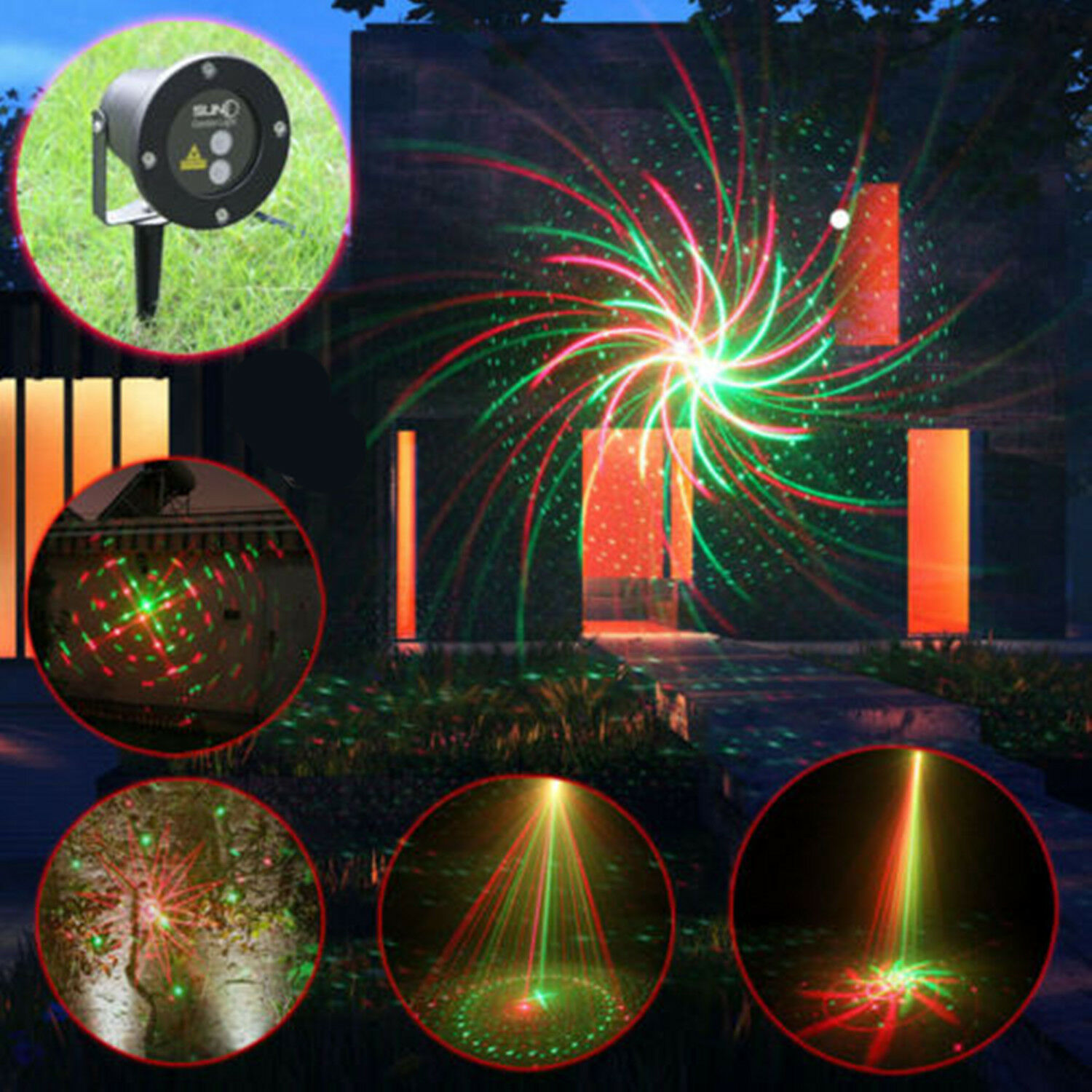 LED Laser Light RED GREEN MOTION Projector Outdoor Garden Christmas Lighting AU!