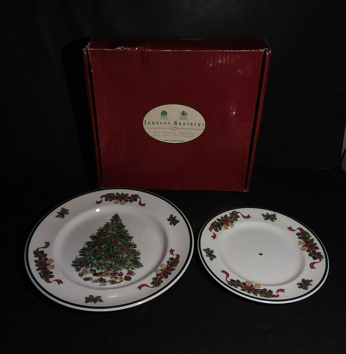 JOHNSON BROTHERS VICTORIAN Christmas Two Tier Cake Stand Plates Only ...