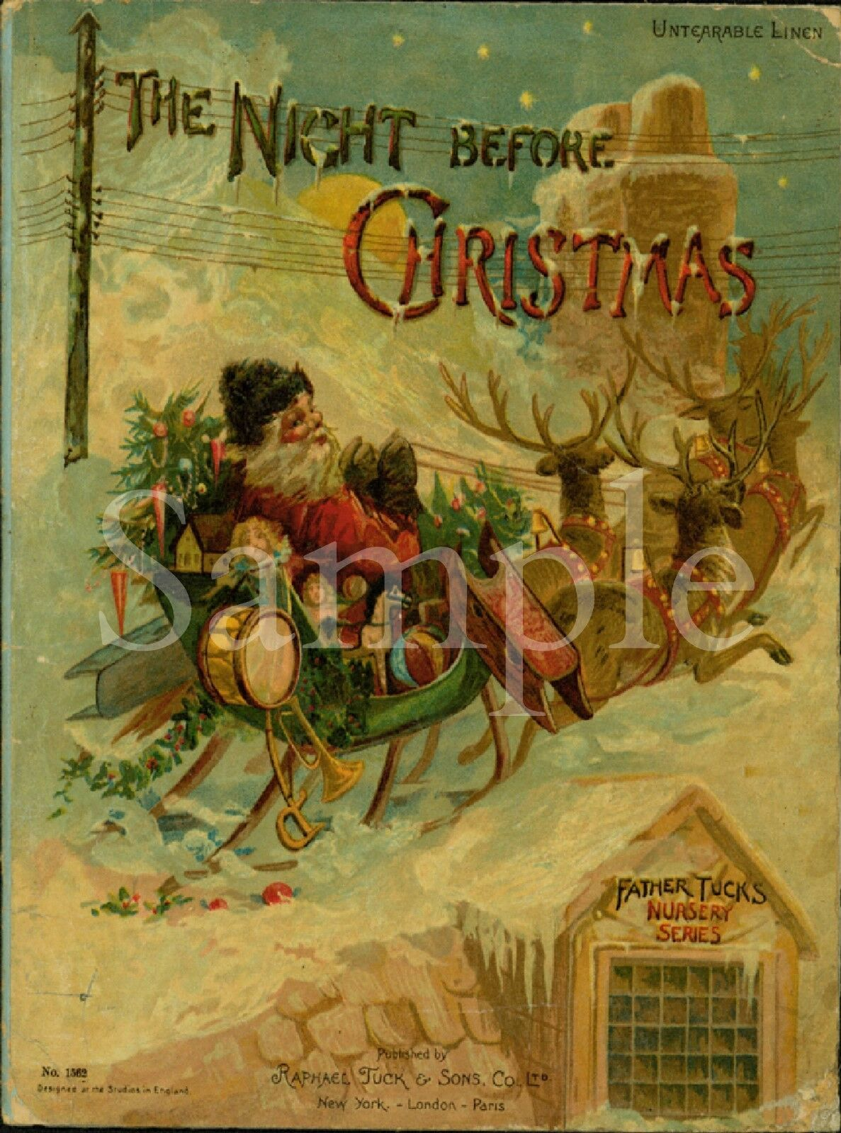 primitive santa claus the night before christmas book front laser print 8x10 1 of 1only 3 available see more - Night Before Christmas Book