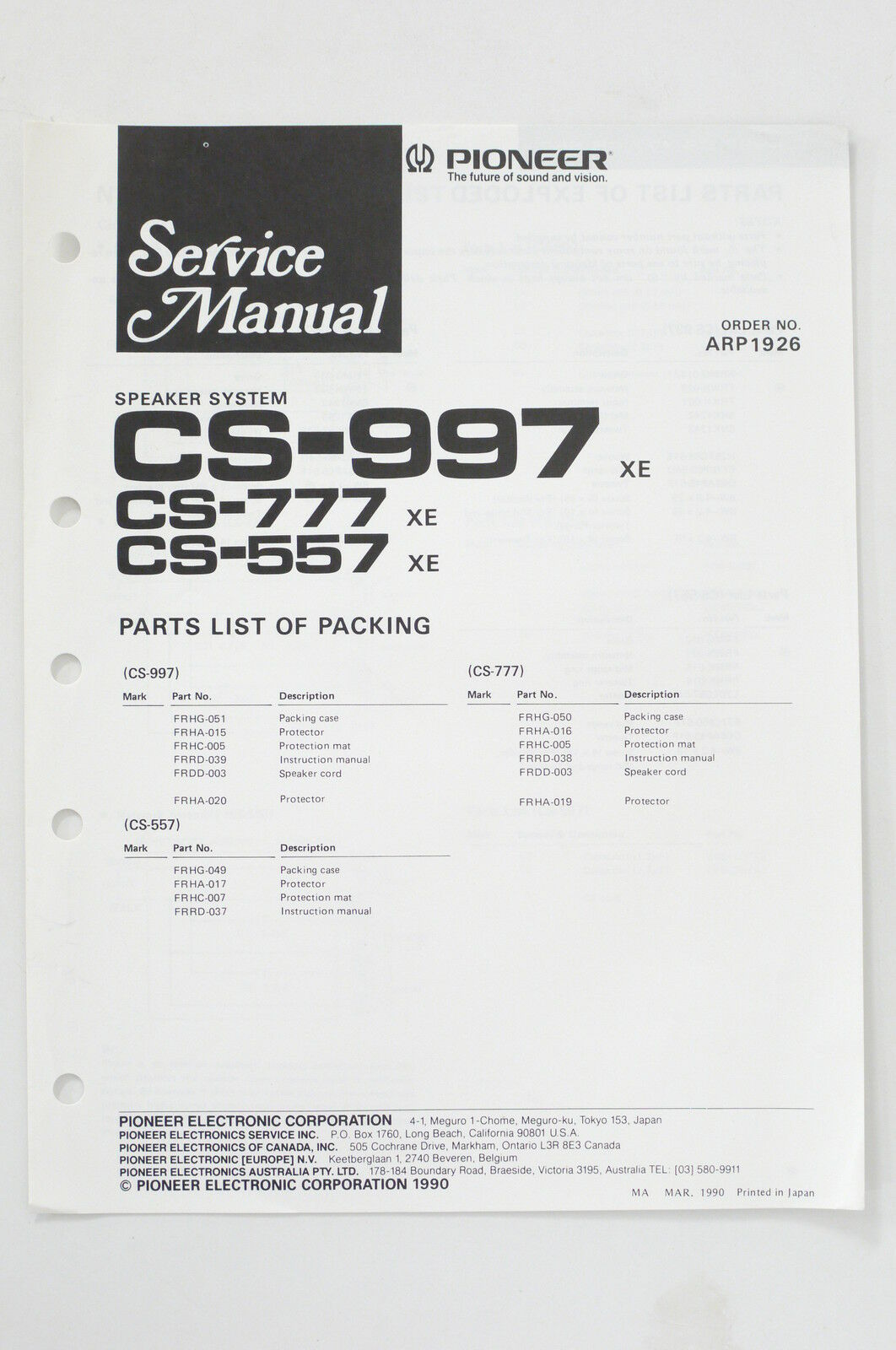 Pioneer Cs 997 777 557 Speaker System Service Manual Guide Wiring Pa Diagram 1 Of See More