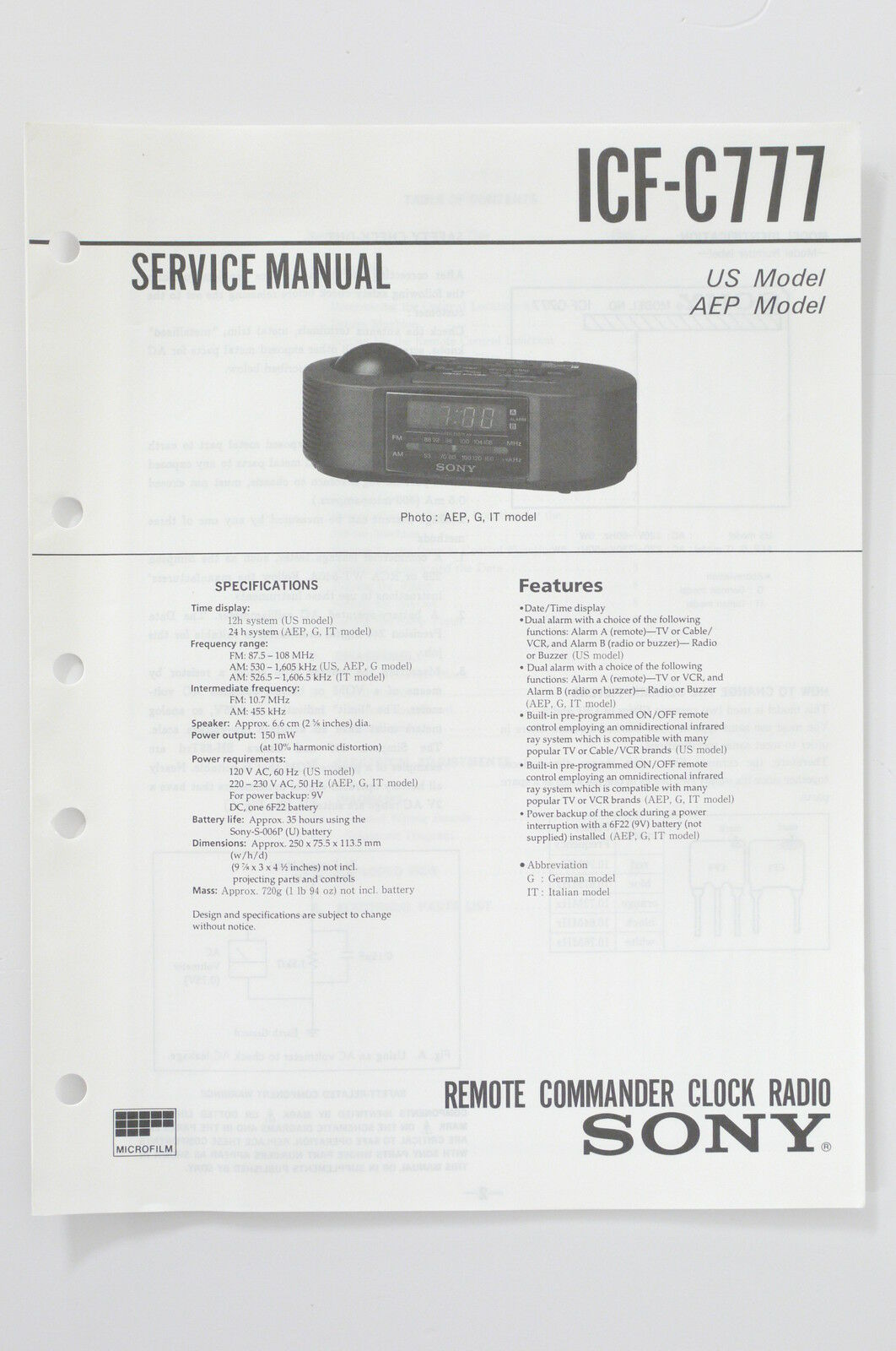Sony Icf C777 Original Clock Radio Service Manual Guide Wiring Diagram 1 Of 1only Available