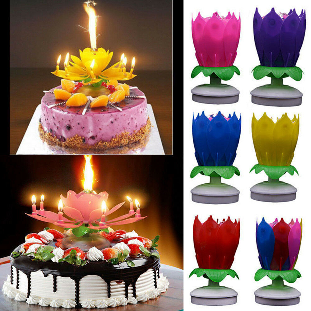Cake Topper Blossom Musical Party Magic Birthday Candle Double Deck
