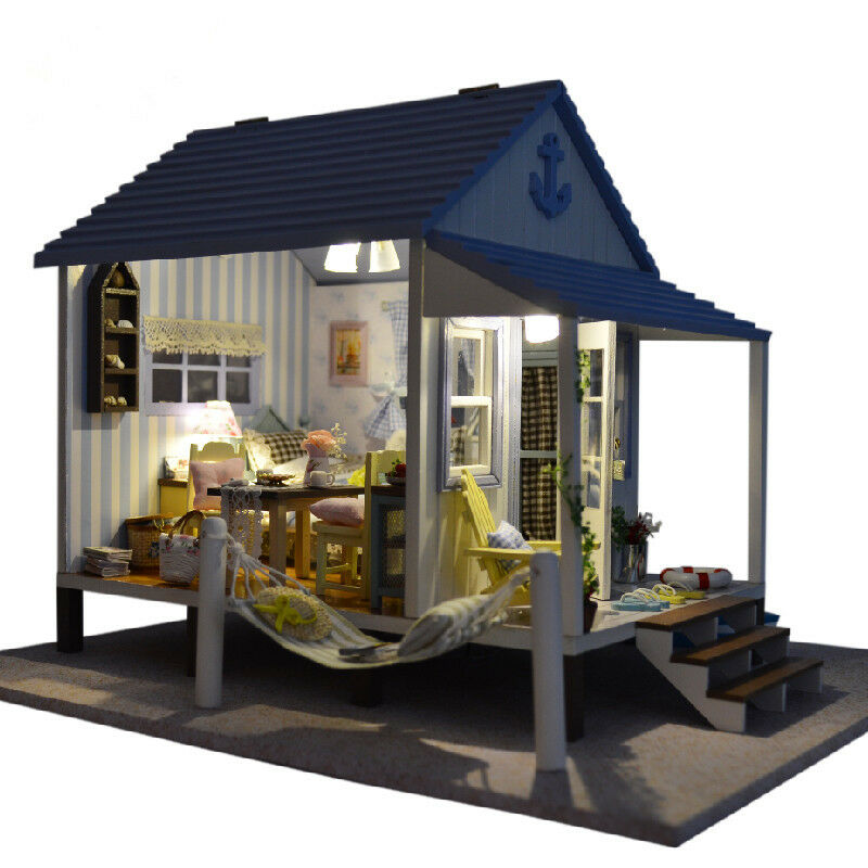 Diy doll house miniature wood beach cabin led light for Beach cabin decor
