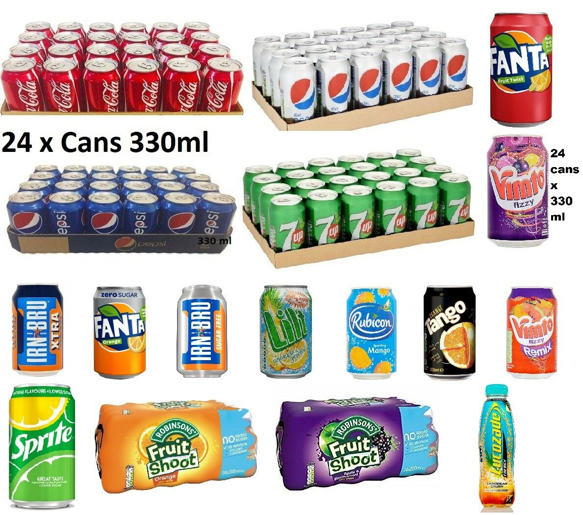 pepsi 330ml x 24 cans soft drinks 7up coca cola pepsi cans all fizzy