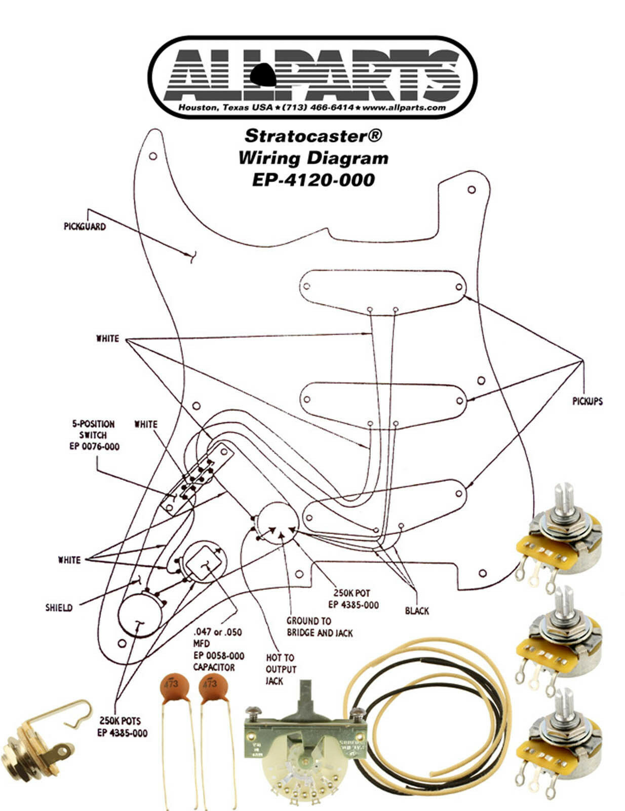 Fender Wiring Kits Detailed Schematics Diagram Guitar Diagrams Kit Stratocaster Strat Complete With Schematic