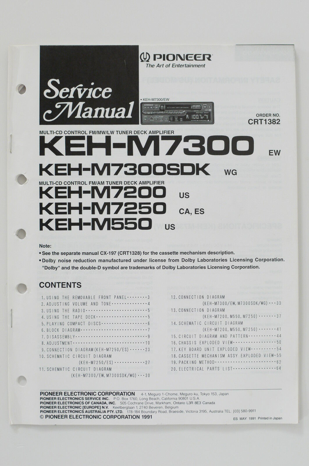 Pioneer Keh M7300 M7200 M7250 M550 Service Manual Guide Wiring Multi Panel Diagram 1 Of 1only Available