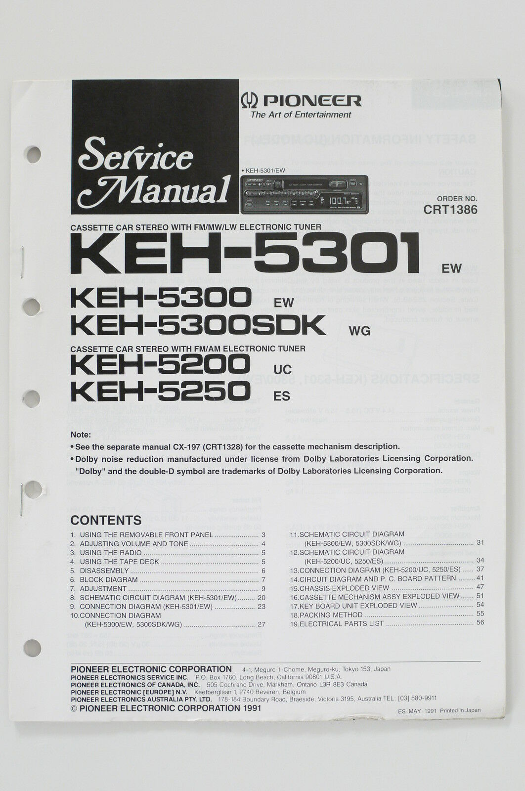 Pioneer Keh 5301 5300 5200 5250 Original Service Manual Guide Wiring Diagrams 1 Of 1only Available