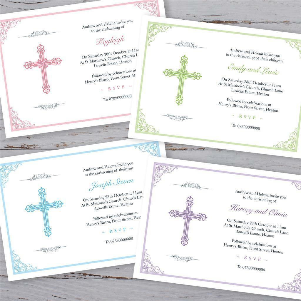 personalised christening invitations baptism invites boy girl