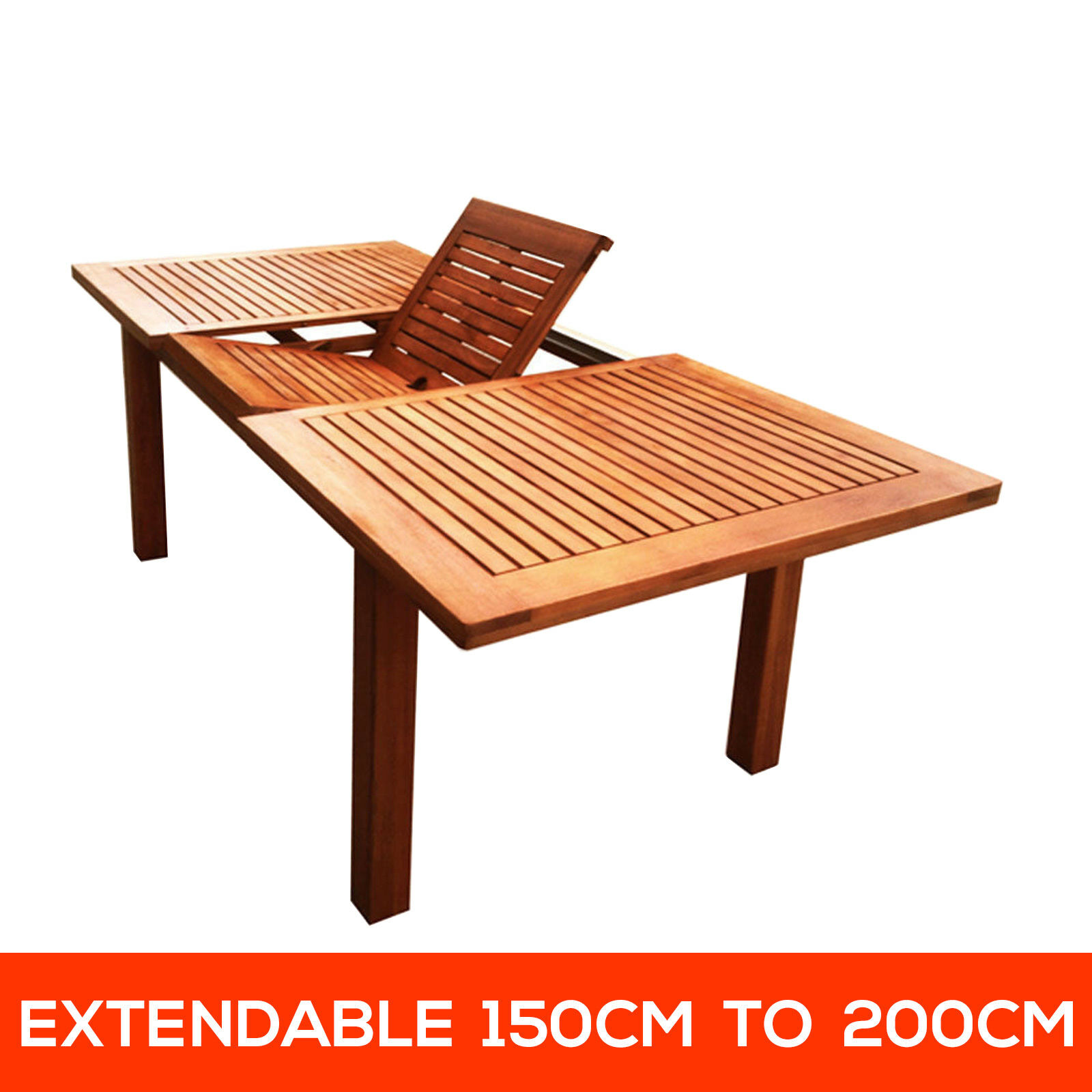 eucalyptus timber extendable wooden outdoor dining table garden furniture aud picclick au. Black Bedroom Furniture Sets. Home Design Ideas