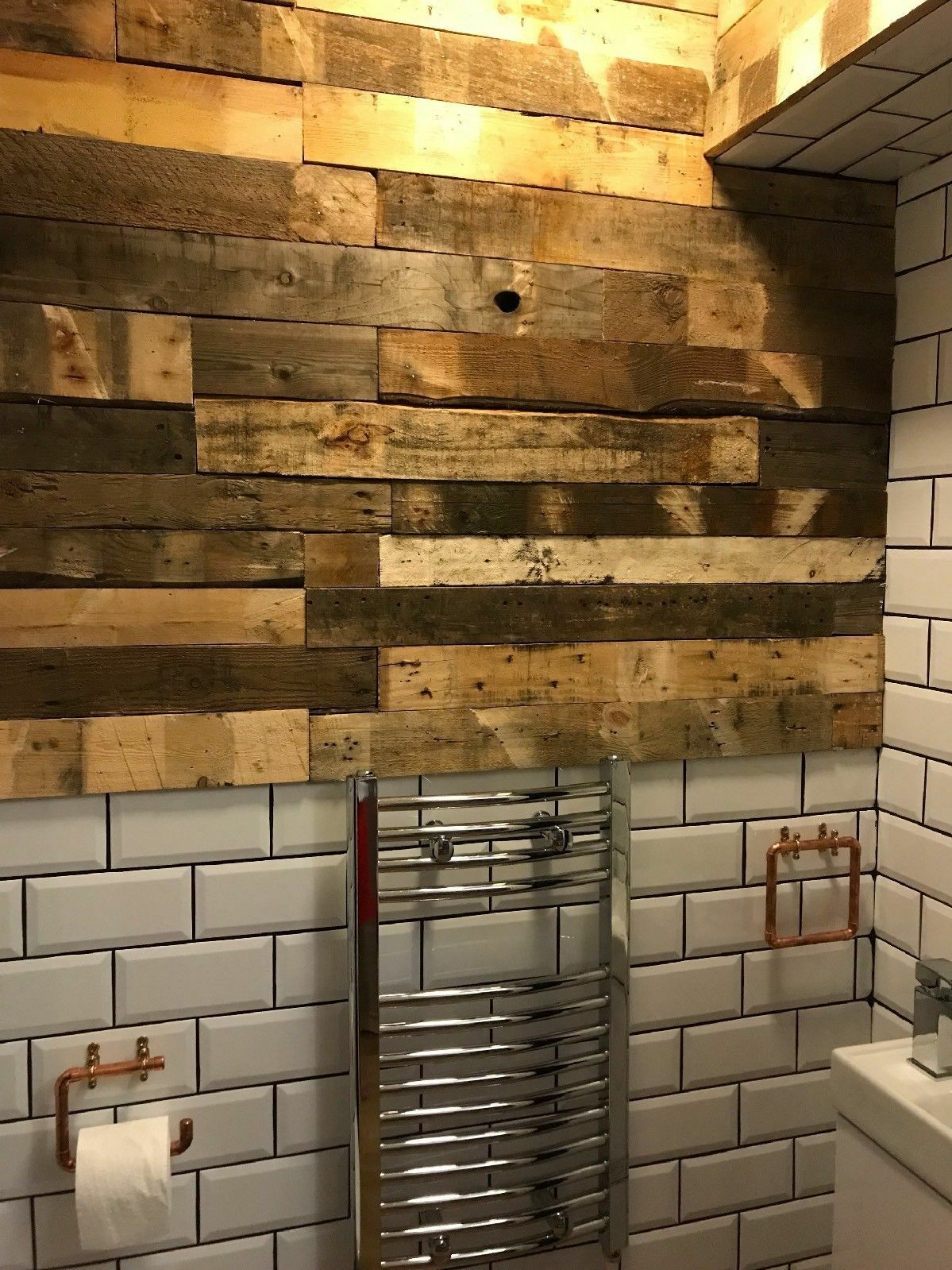 Reclaimed pallet wood wall cladding picclick uk for Reclaimed pallet wood wall