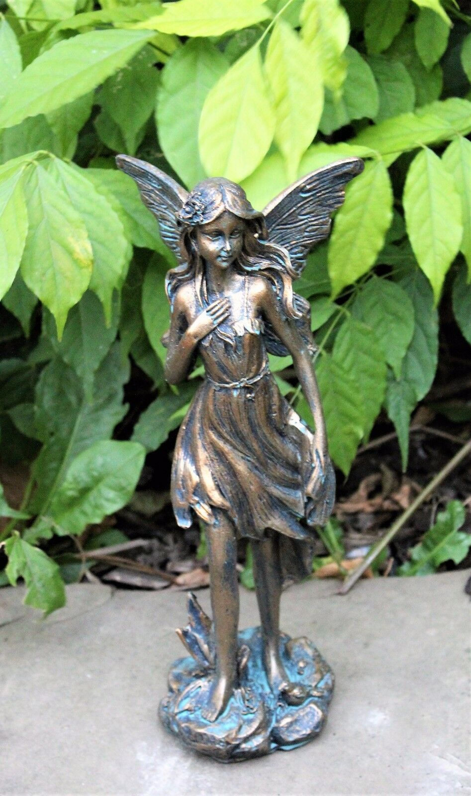magical fairy garden ornament bronze effect figurine angel. Black Bedroom Furniture Sets. Home Design Ideas