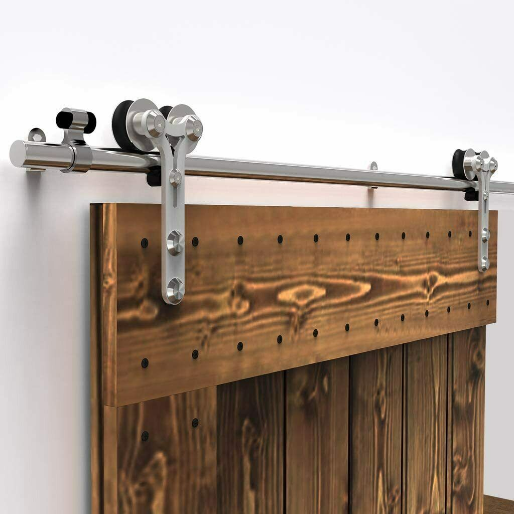 Stainless Steel Sliding Barn Wood Door Hardware Closet Track Kit Single Double 1 Of 12free Shipping
