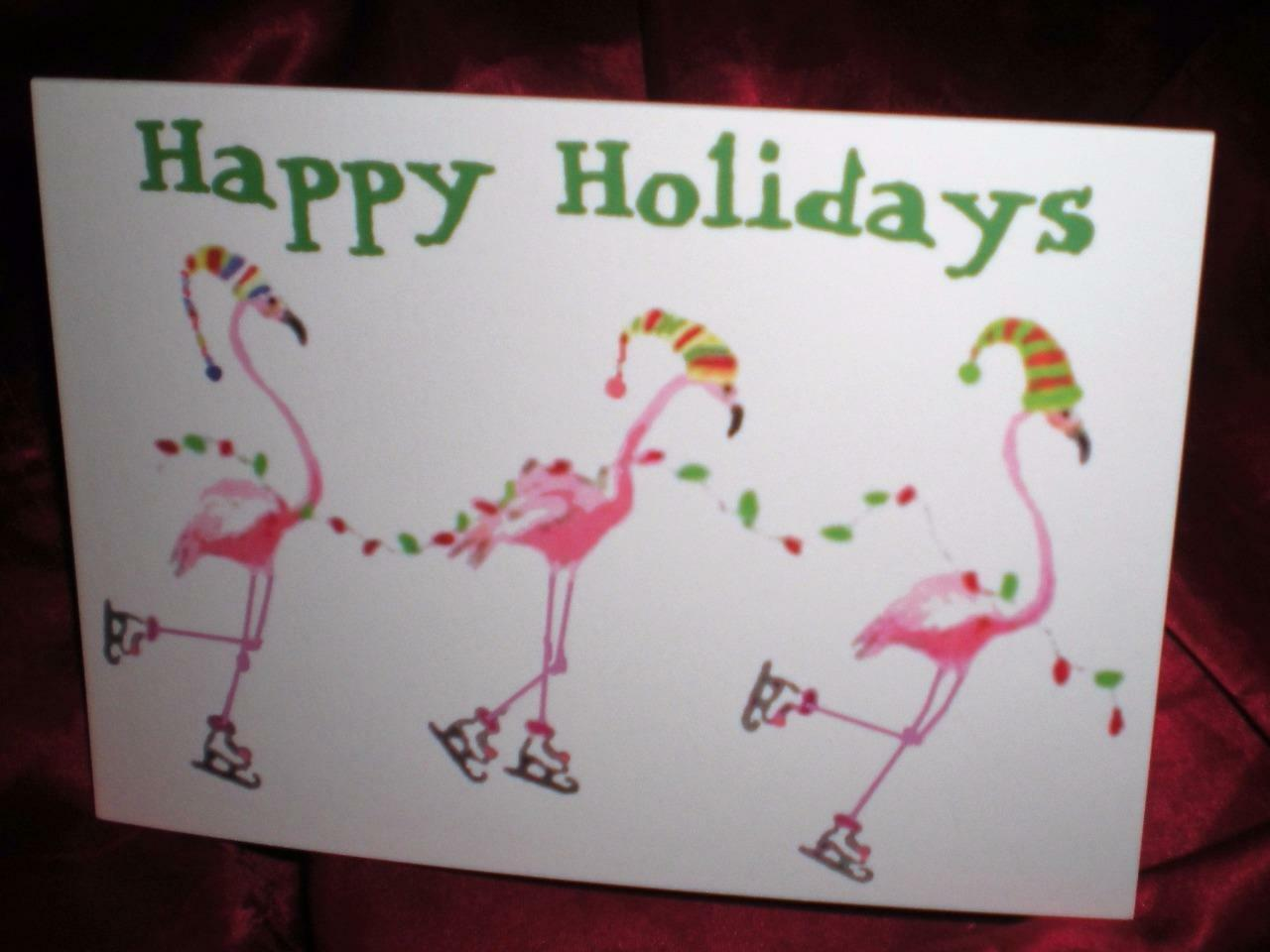 HAPPY HOLIDAYS FOUR CUSTOM PINK FLAMINGO CHRISTMAS GREETING CARDS ...