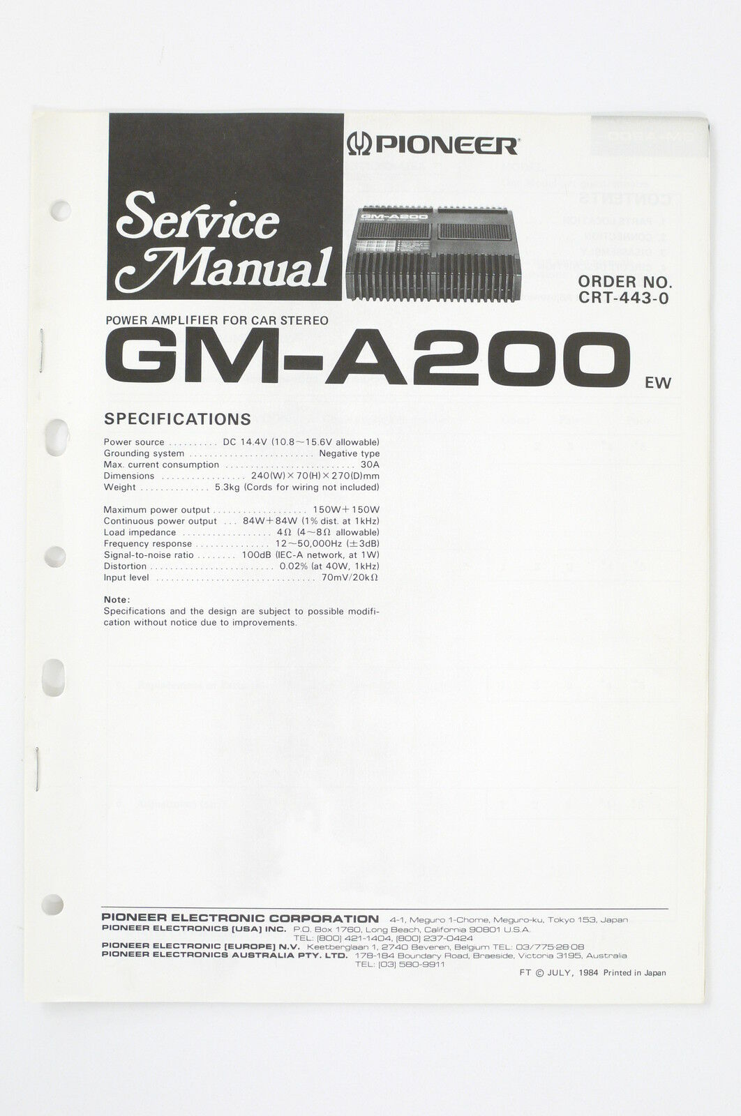 Pioneer Gm A200 Ew Car Amplifier Service Manual Wiring Diagram Japan 1 Of 1only Available