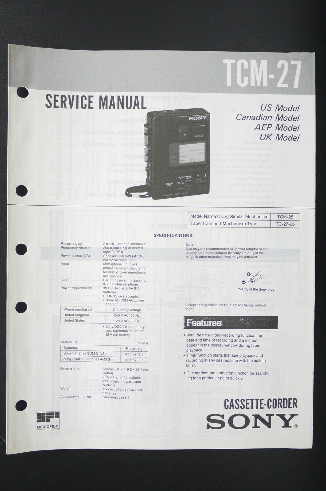 Sony Tcm 27 Walkman Cassette Corder Service Manual Diagram Wiring Sound Bar 1 Of 1only Available
