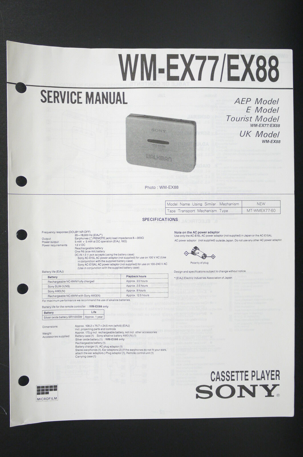 Sony Wm Ex77 Ex88 Walkman Cassette Player Service Manual Wiring Diagram 1 Of 3only 3 Available