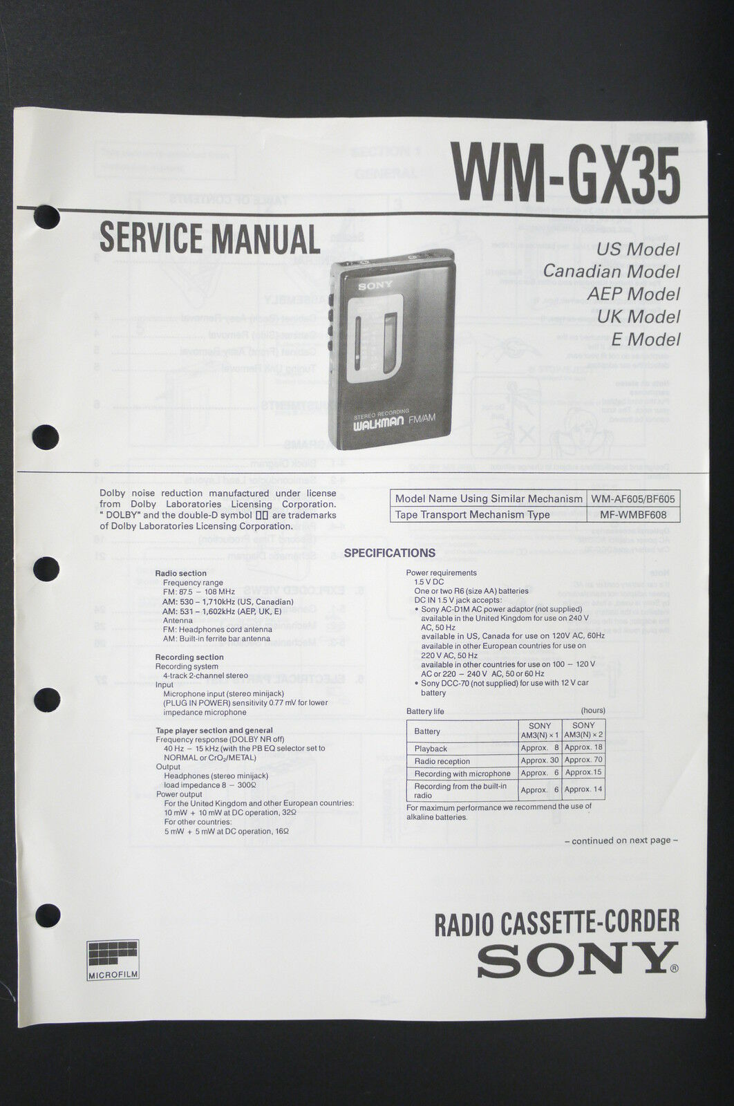 Sony Wm Gx35 Walkman Radio Cassette Corder Service Manual Wiring Sound Bar Diagram 1 Of 1only Available
