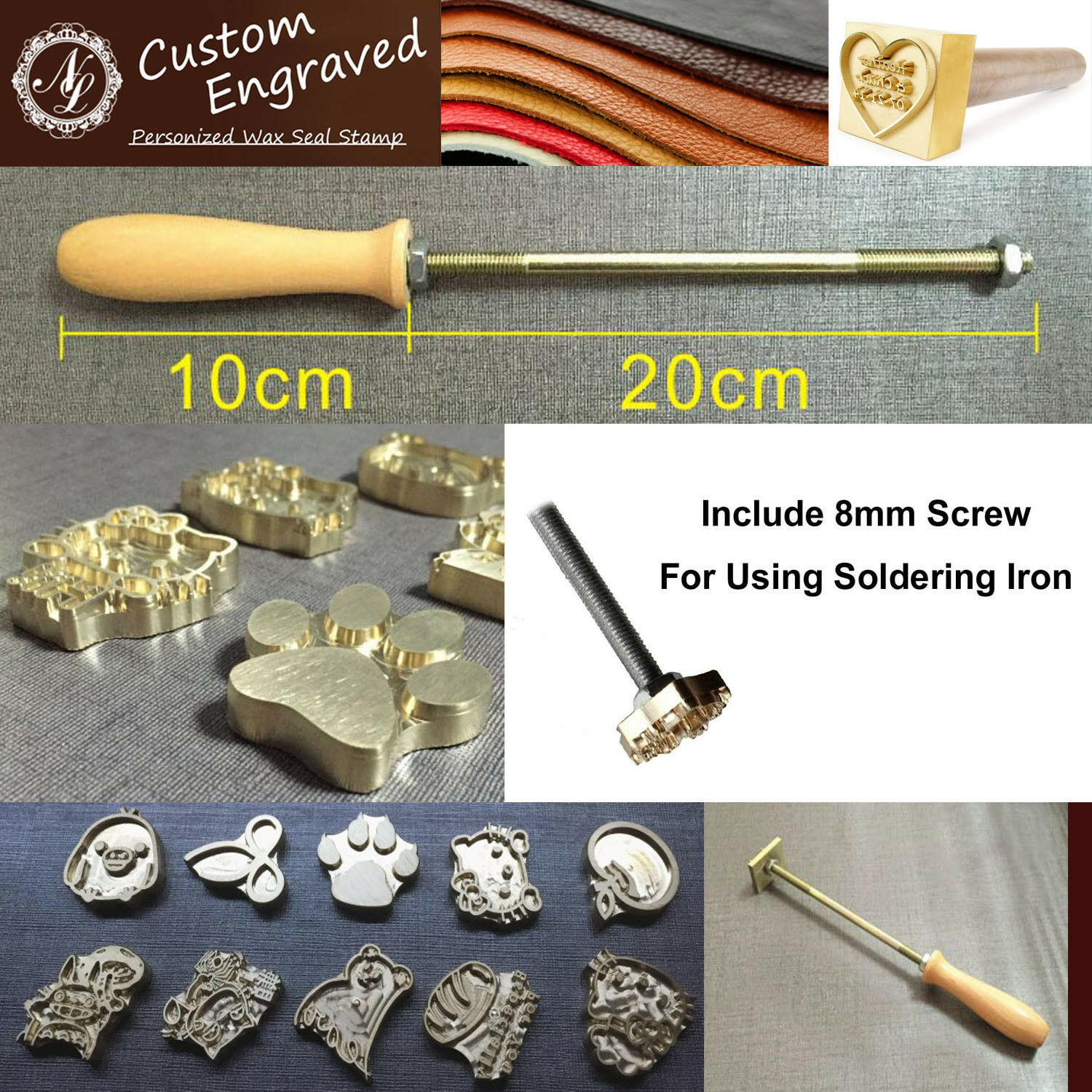 Custom Made Your Design Logo Branding Iron Wood Leather Stamp Torch Heated 1 Of 6FREE Shipping