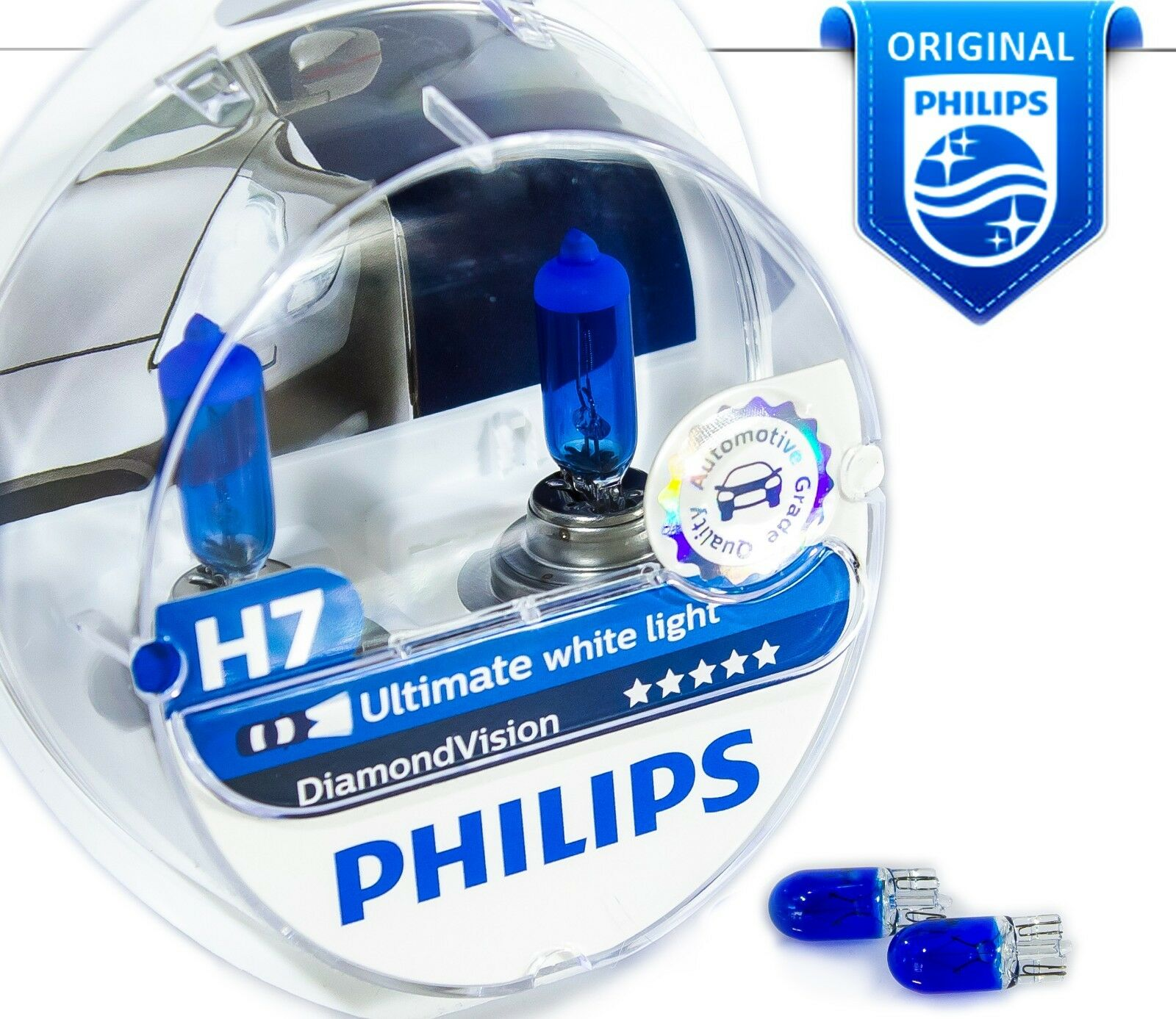 new h7 philips diamond vision 5000k car headlight bulbs 12v 55w px26d blue w5w eur 27 58. Black Bedroom Furniture Sets. Home Design Ideas