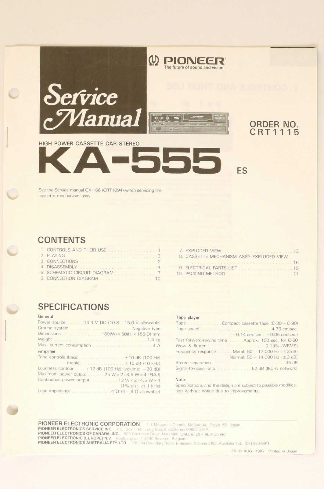 Pioneer Ka 555 Original Service Manual Guide Wiring Diagram O65 Japan Car 1 Of 1only Available