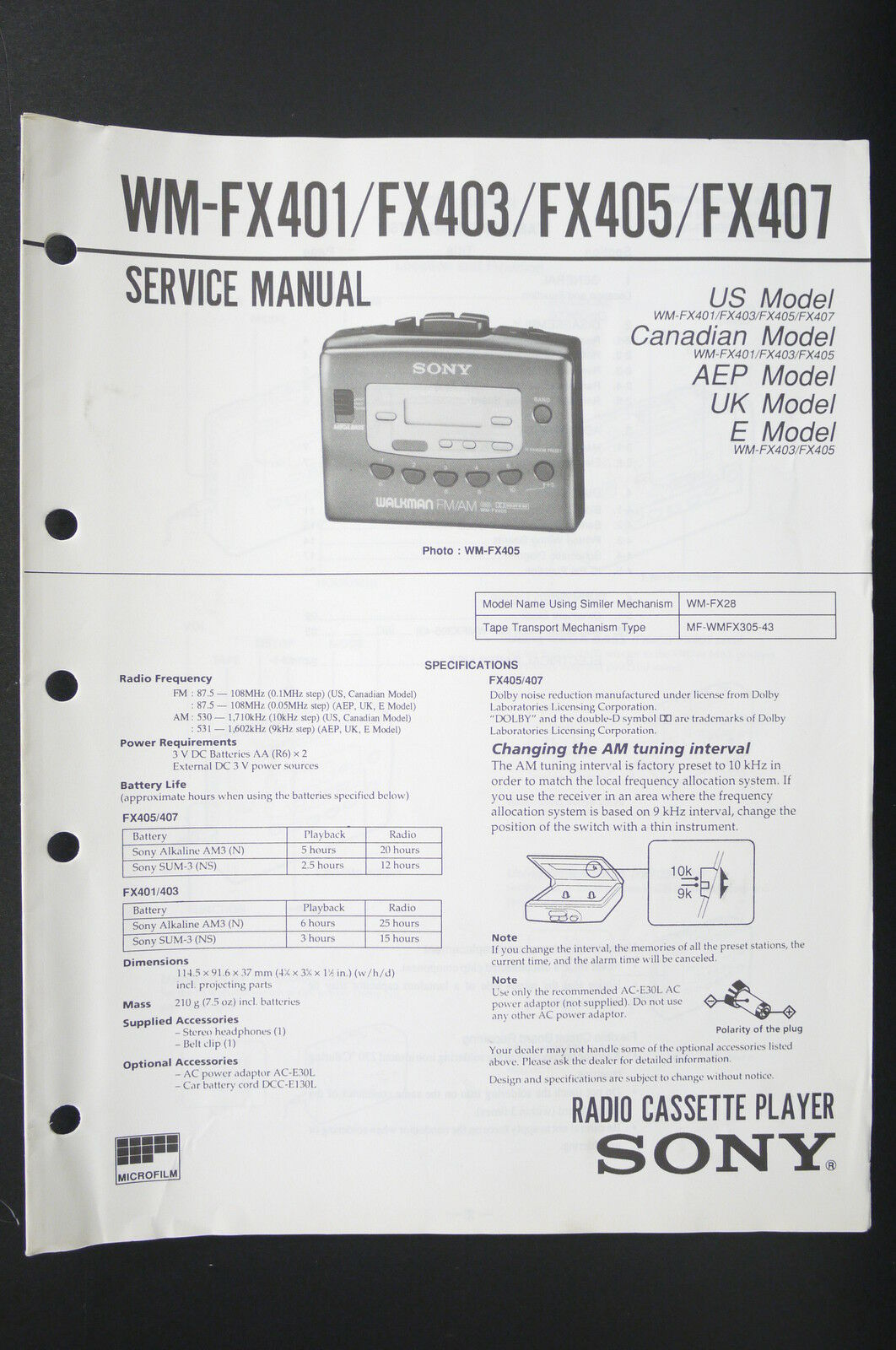 Sony Wm Fx401 Fx403 Fx405 Fx407 Walkman Service Manual Wiring Diagram 1 Of 1only Available