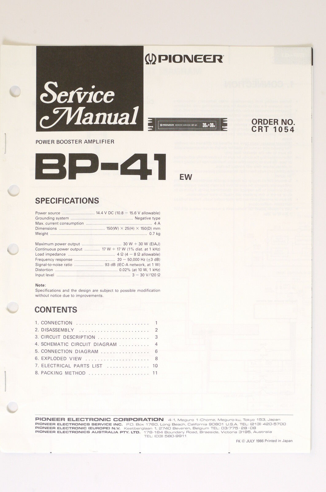 Pioneer Bp 41 Original Power Booster Amplifier Service Manual Wiring Connection Diagram 1 Of 1only 2 Available See More