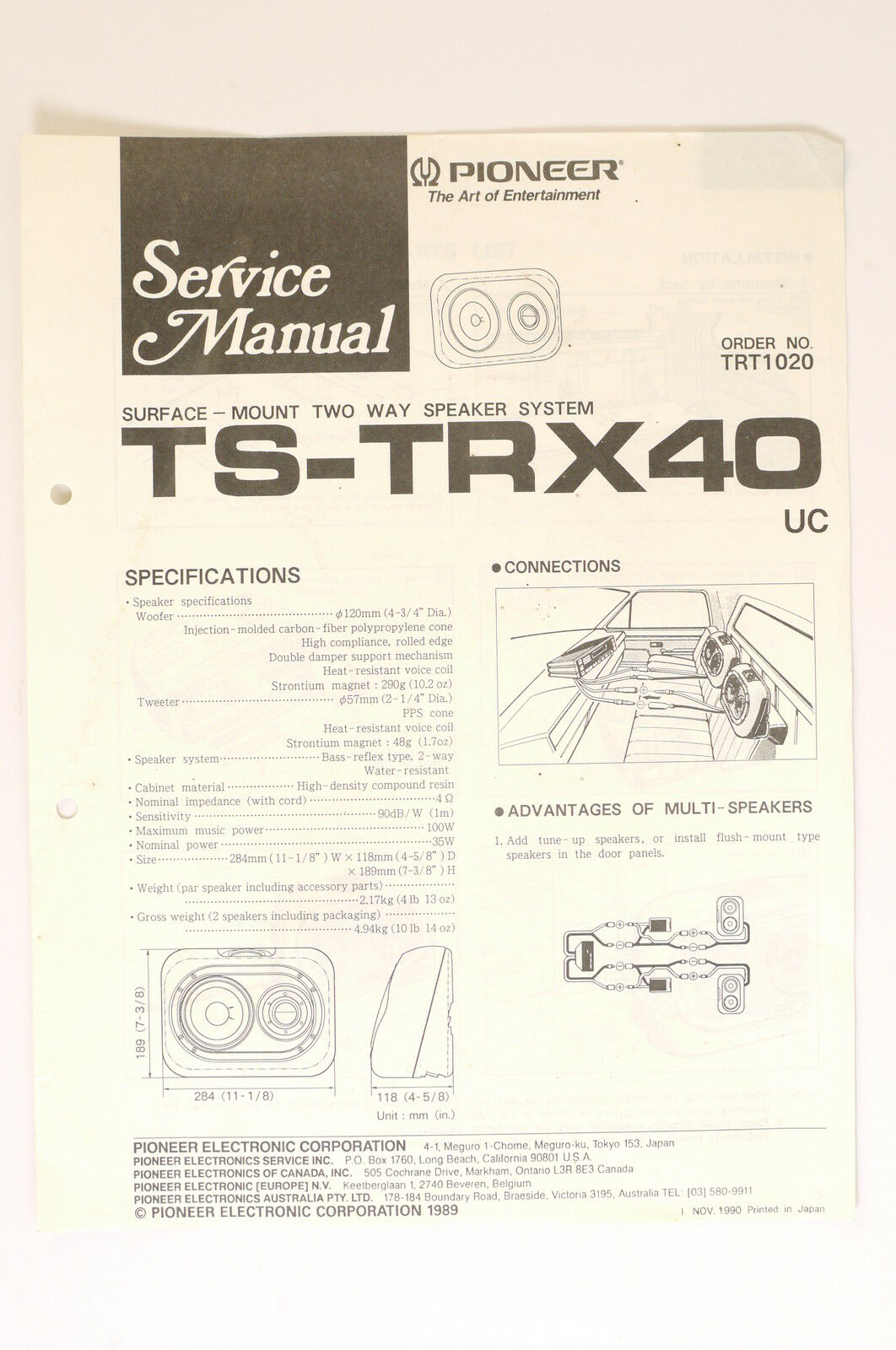Pioneer Ts Trx40 2 Way Speaker System Original Service Manual Wiring Diagrams Diagram 1 Of 1only Available See More