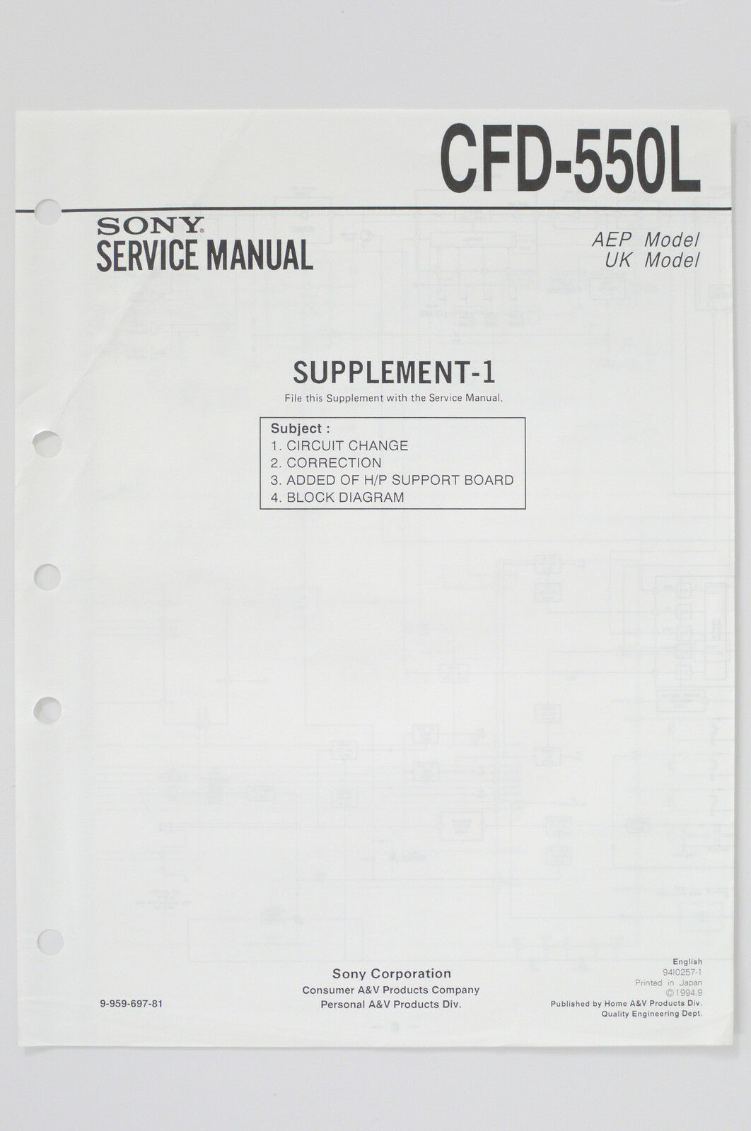 Sony Cfd 550l Original Service Manual Guide Wiring Diagram 1 Of 1only Available