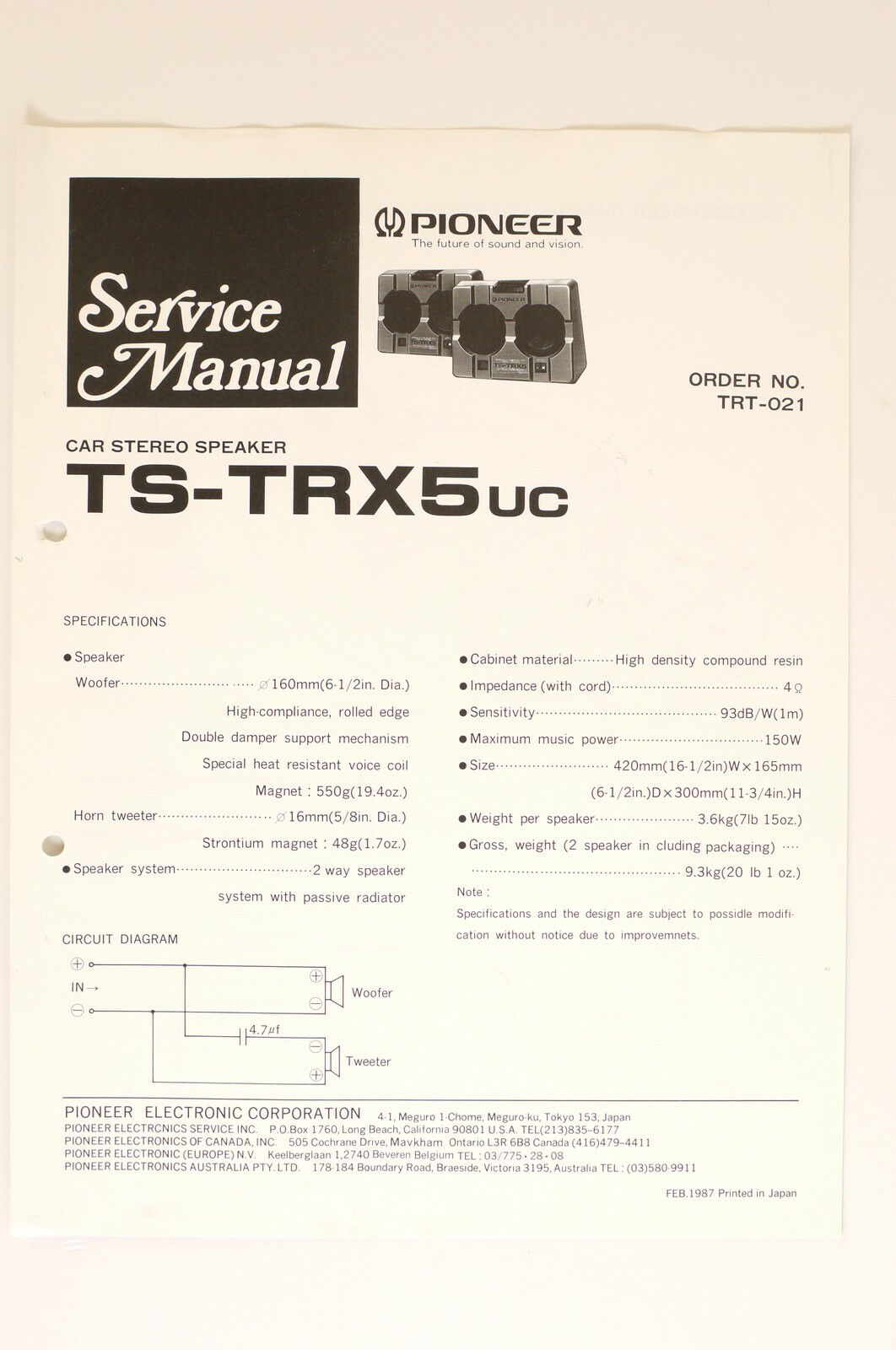 Pioneer Ts Trx5 Car Stereo Speaker Original Service Manual Wiring 2 Way Diagram 1 Of 1only Available