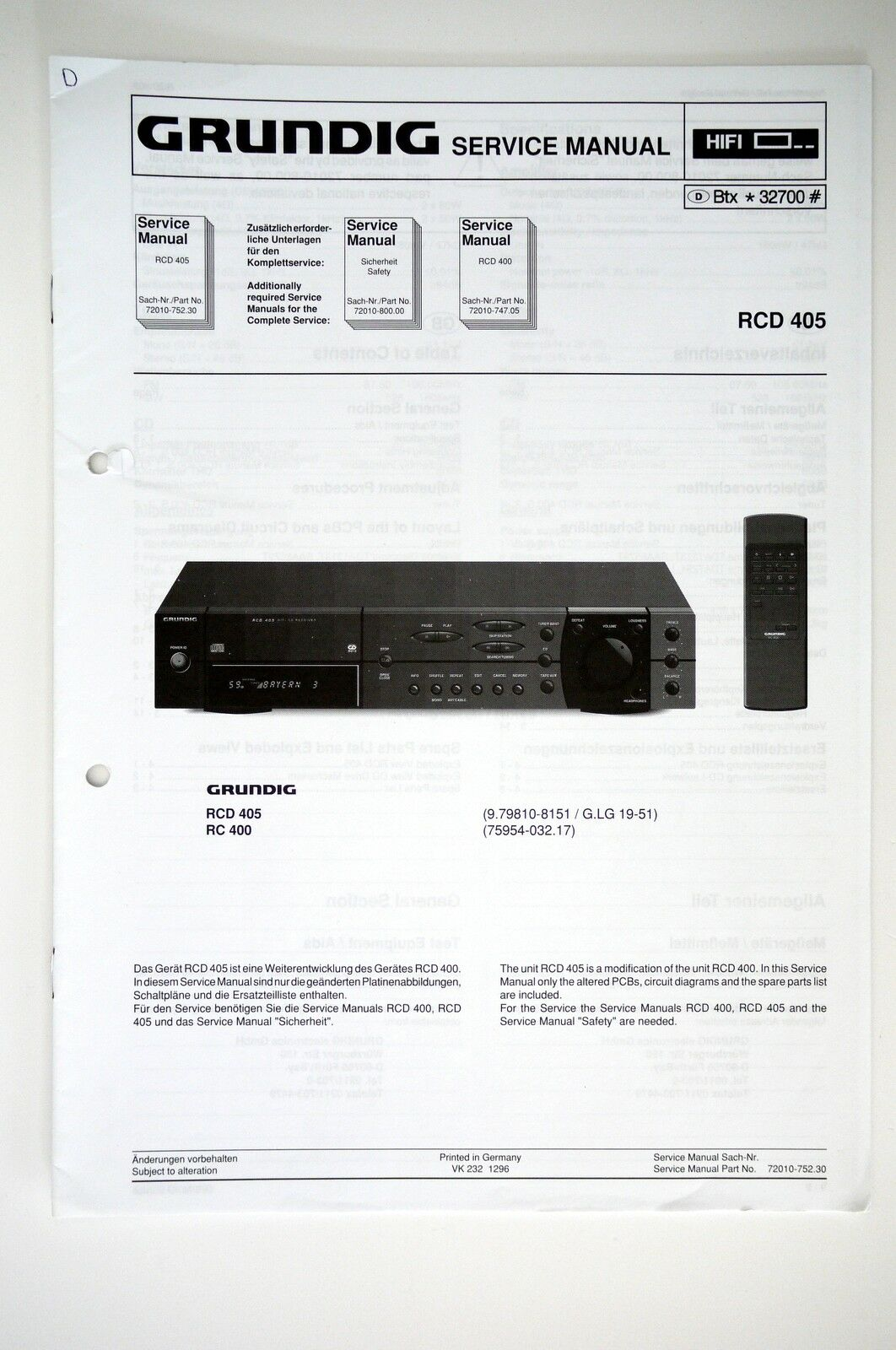 Grundig Rcd 405 Original Receiver Service Manual Guide Wiring Diagram 1 Of 1only Available