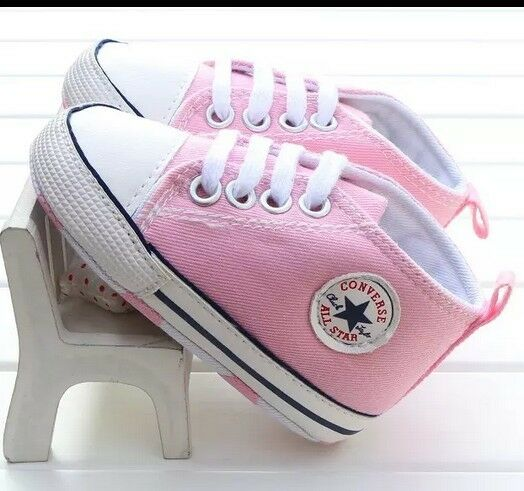 BABY GIRLS Pink Canvas Shoes Converse Brand New £10 99