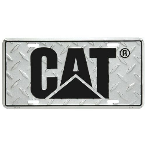 CAT ALUMINUM DIAMOND Plate License Tag with Black Logo Caterpillar ...