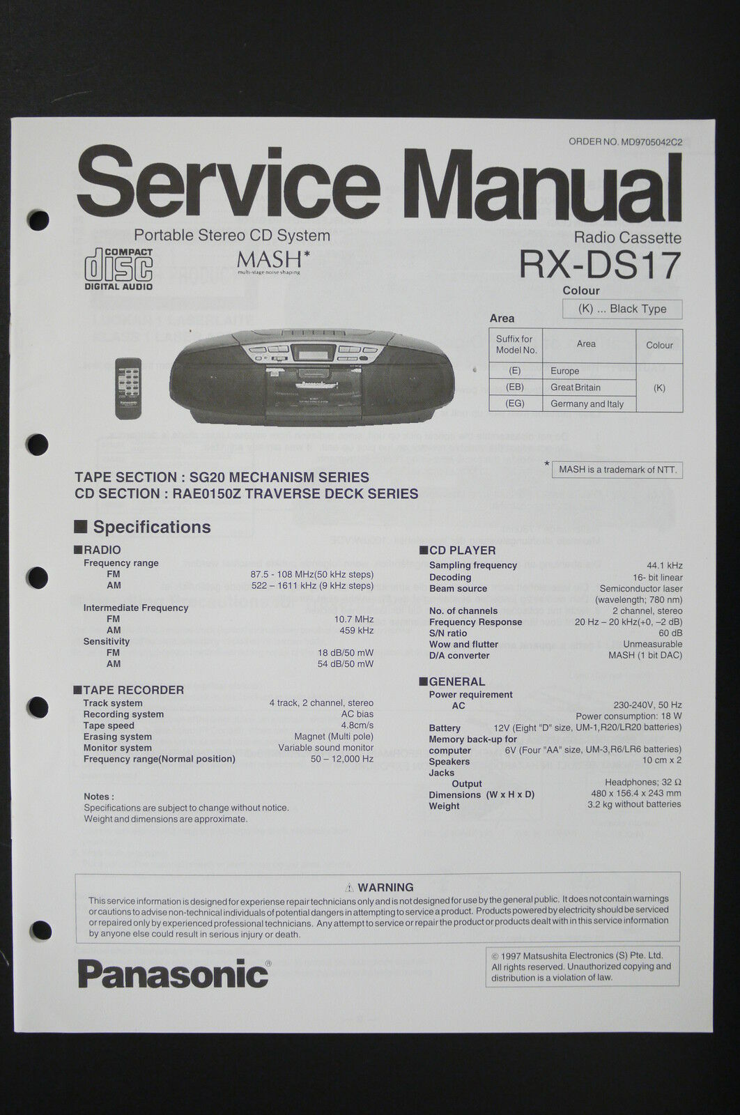 Panasonic Rx Ds17 Radio Cassette Player Service Manual Wiring And Cd Diagram 1 Of See More