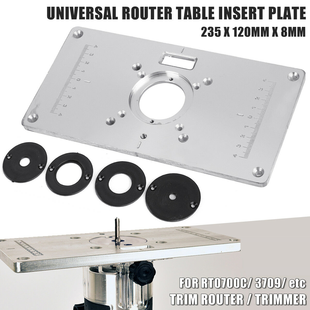 Aluminium router table insert plate for rt0700c universal trimmer aluminium router table insert plate for rt0700c universal trimmer woodworking 1 of 9 see more keyboard keysfo Choice Image