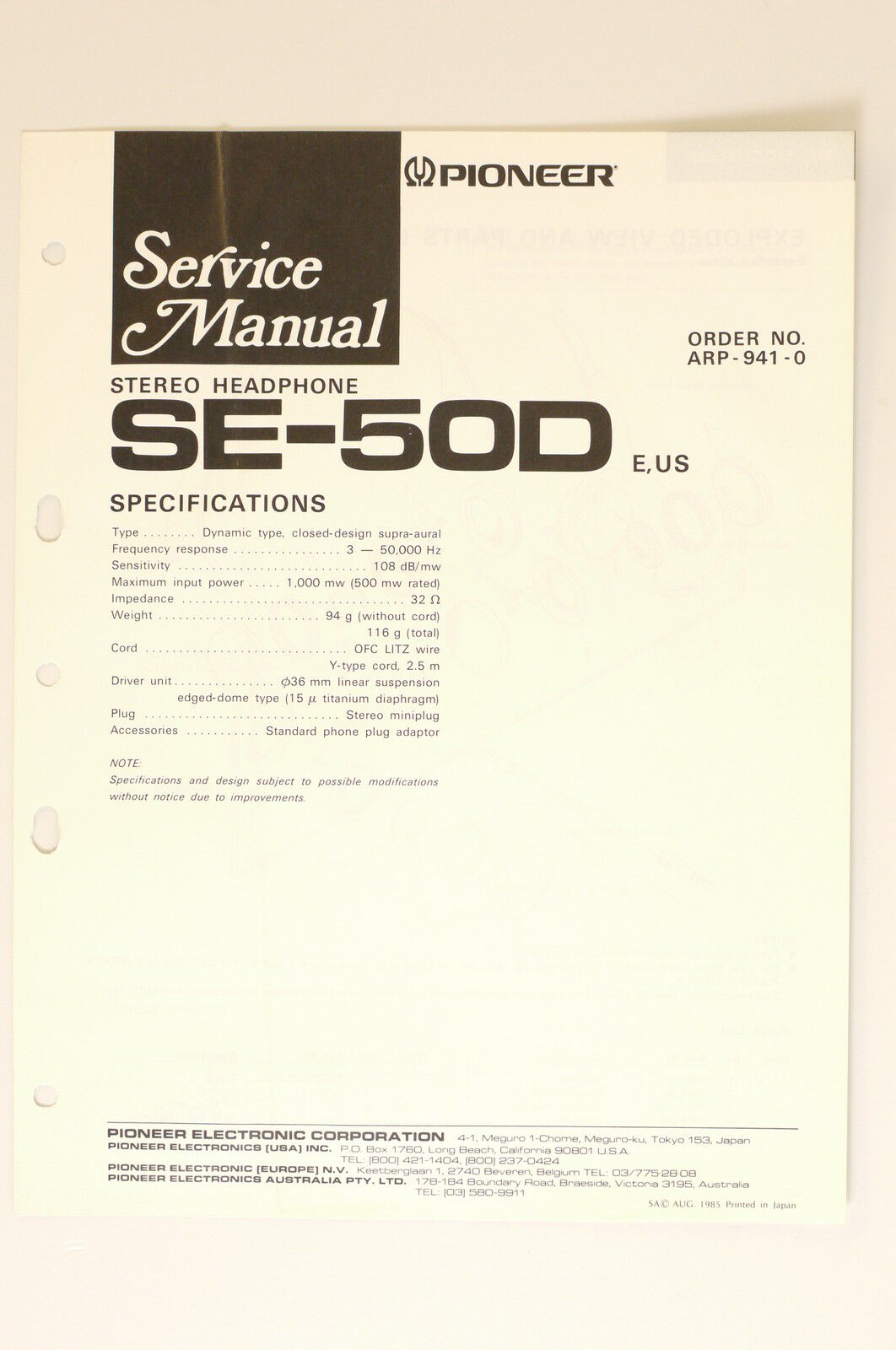Pioneer Se 50d Stereo Headphones Original Service Manual Wiring Phone Plug Diagram 1 Of 1only Available