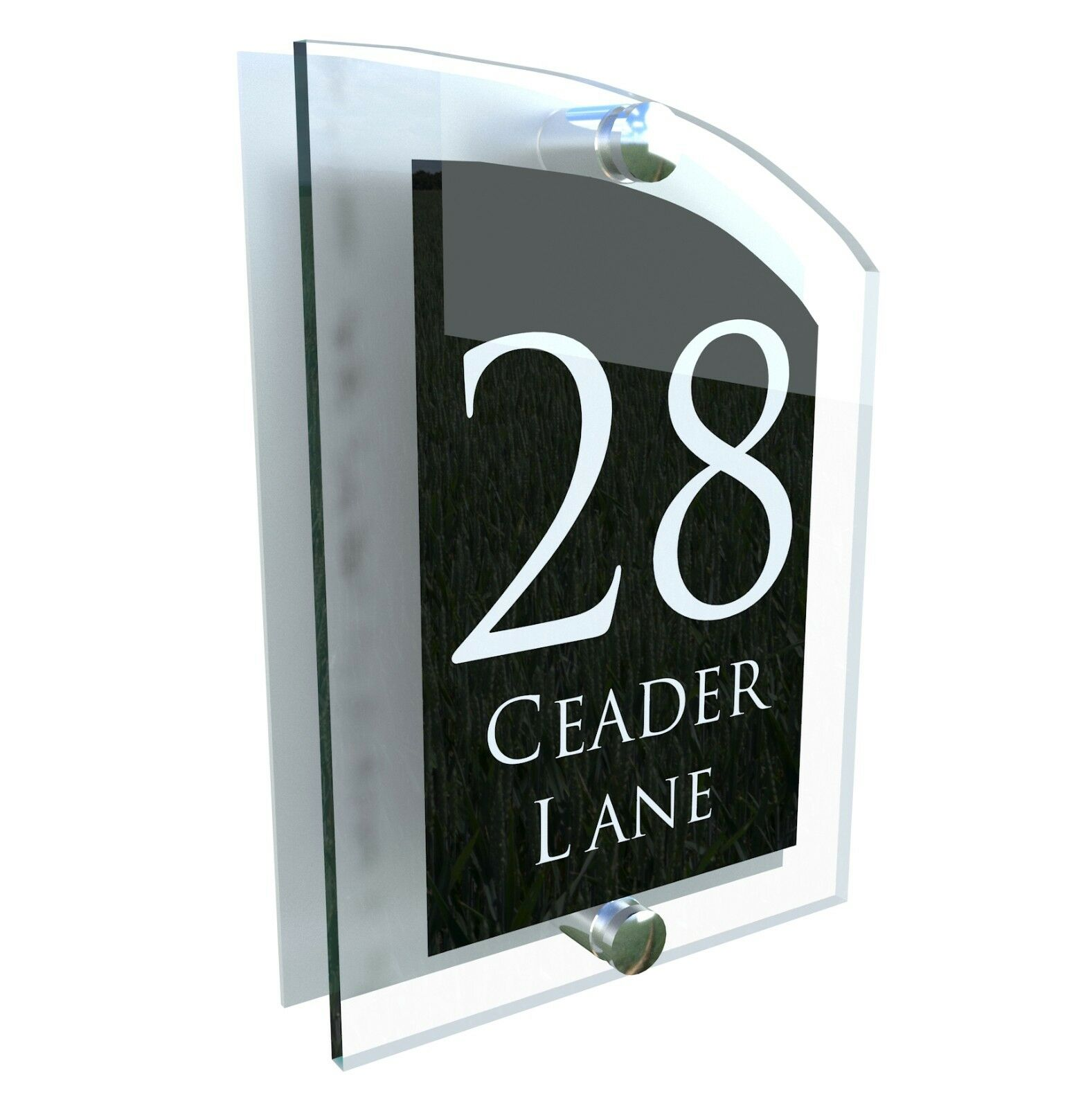 House Number Plaque Glass Effect Acrylic Sign Door Plate Name Wall